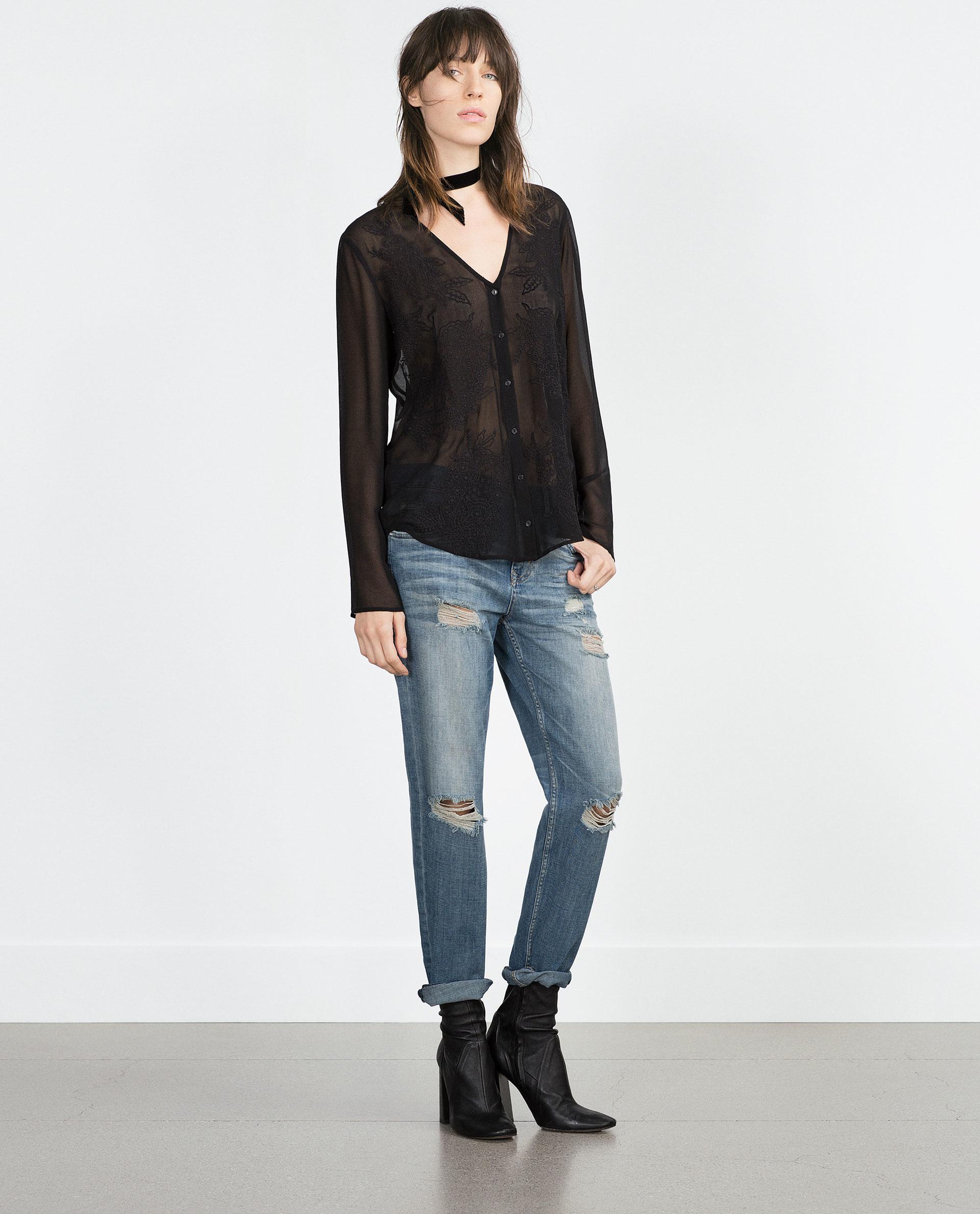 zara mid rise boyfriend jeans in blue lyst. Black Bedroom Furniture Sets. Home Design Ideas