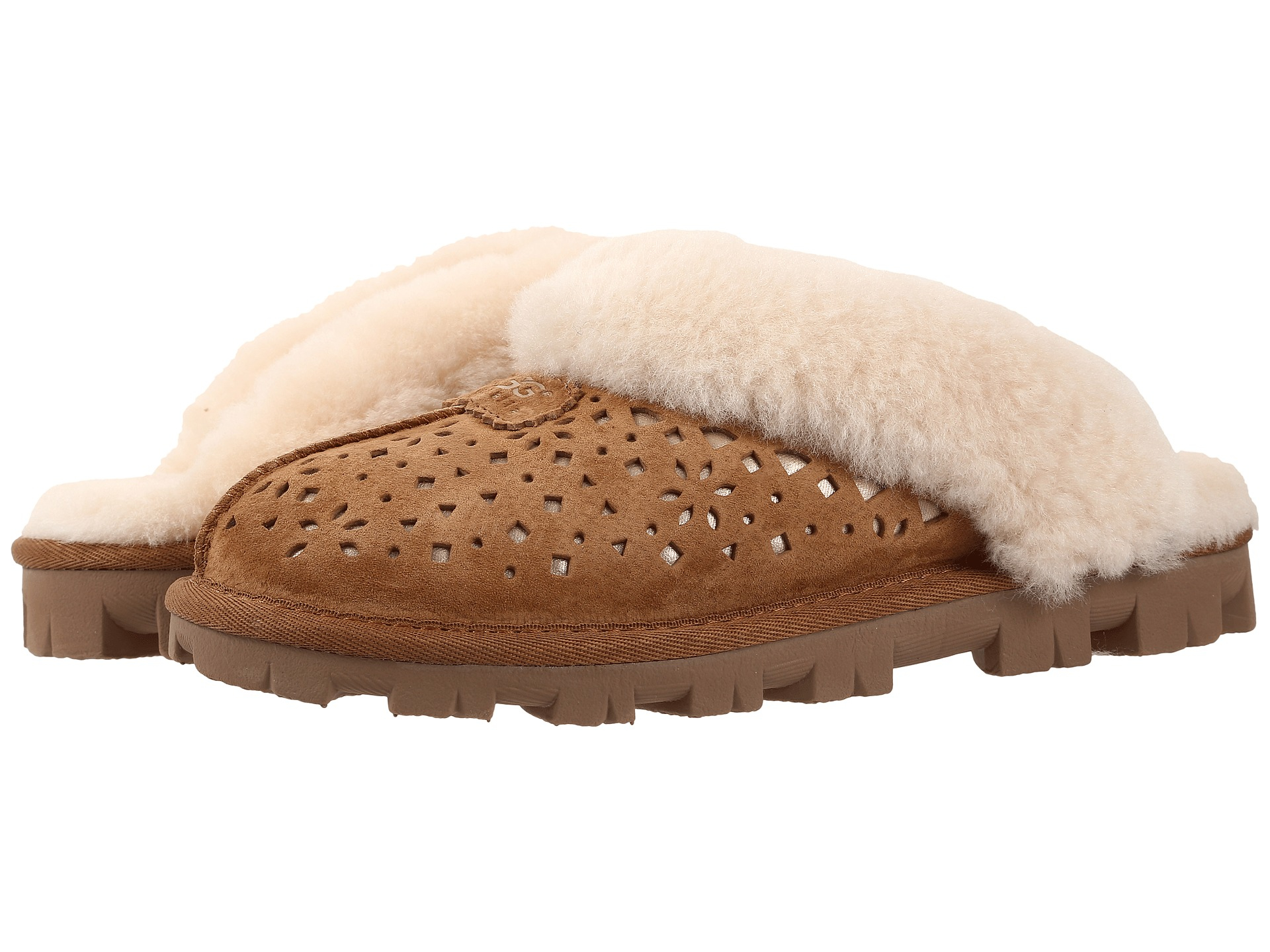 Womens Slippers UGG Coquette Flora Perf Chestnut Water Resistant Suede