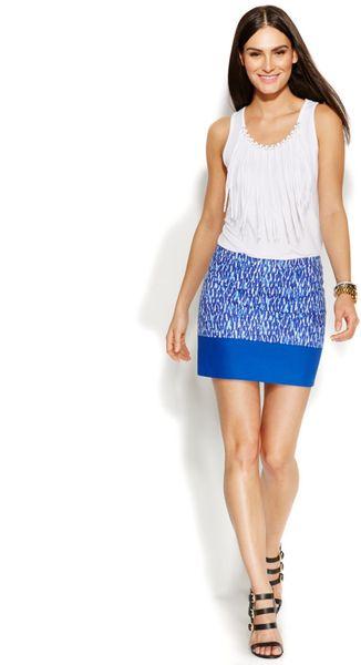 Michael Kors Michael Petite Printed Colorblock Mini Skirt