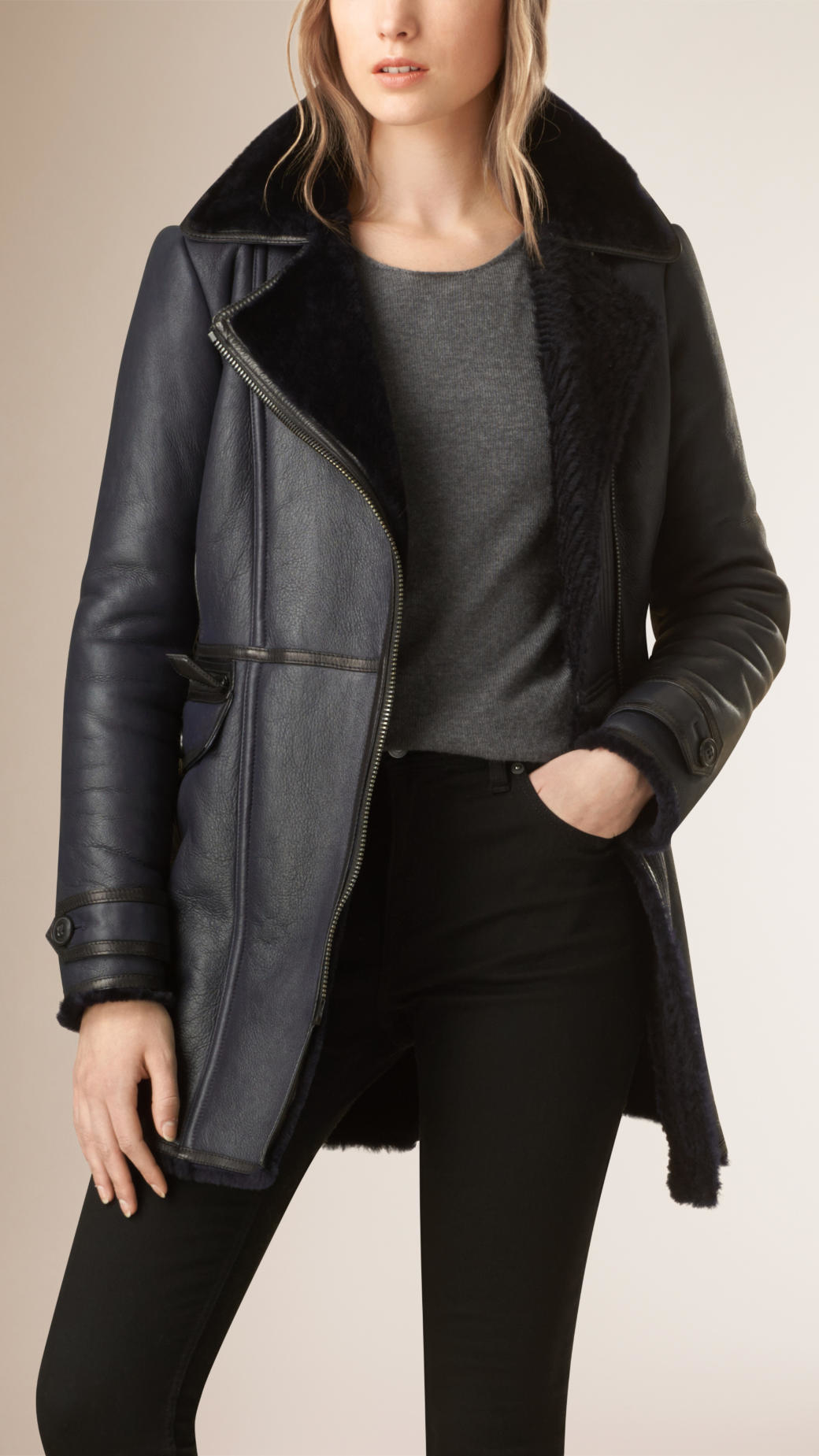 Burberry Fitted Merino Shearling Coat in Blue | Lyst