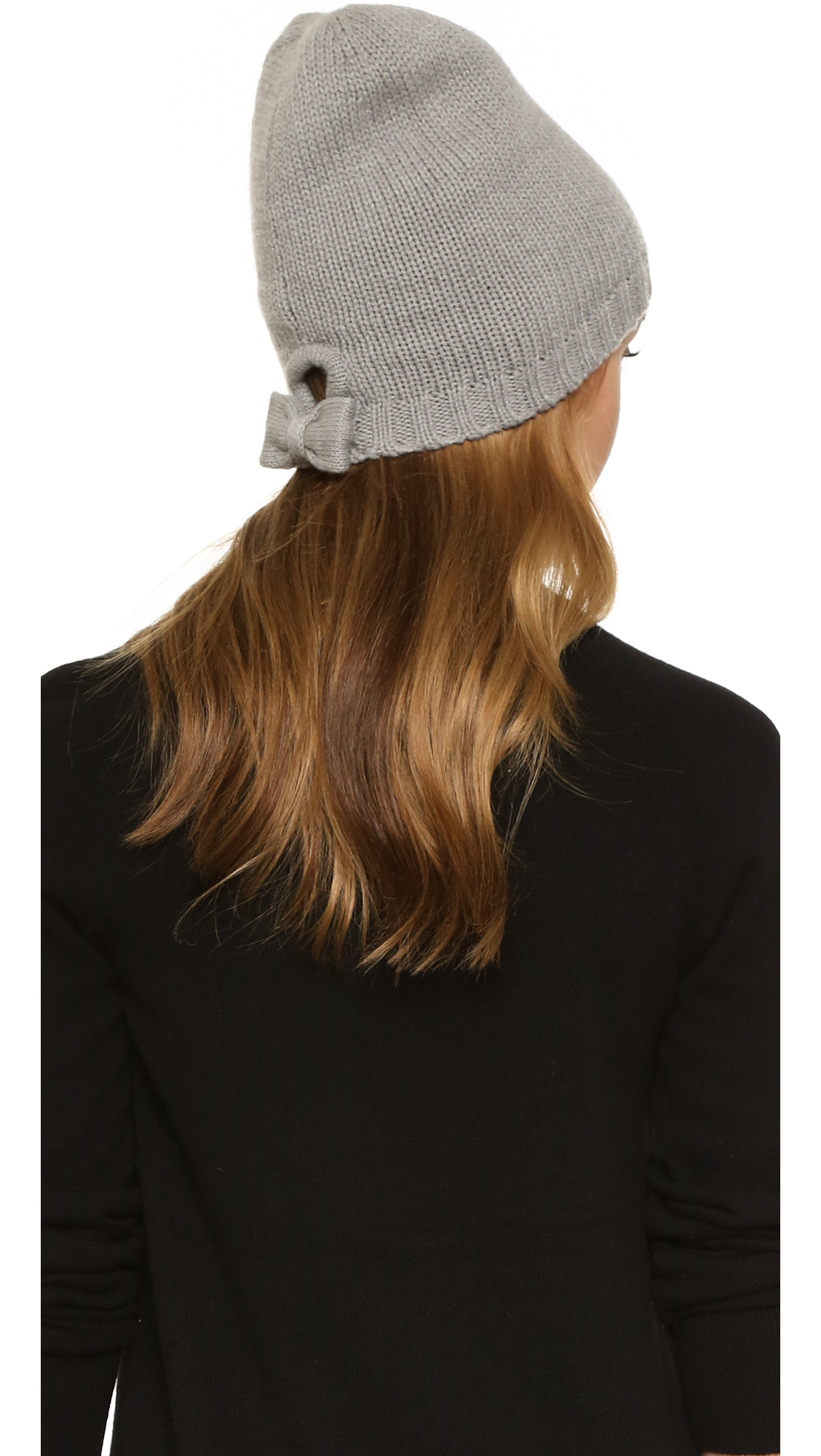 45a315c1d1130d Kate Spade Gathered Bow Beanie in Gray - Lyst