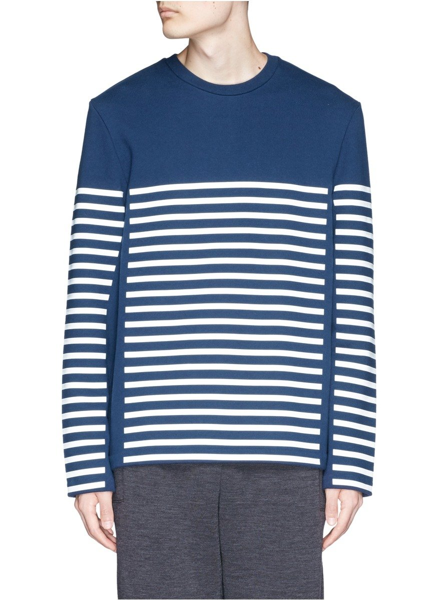 T By Alexander Wang Stripe Gel Print Long Sleeve T Shirt In Blue For Men Lyst