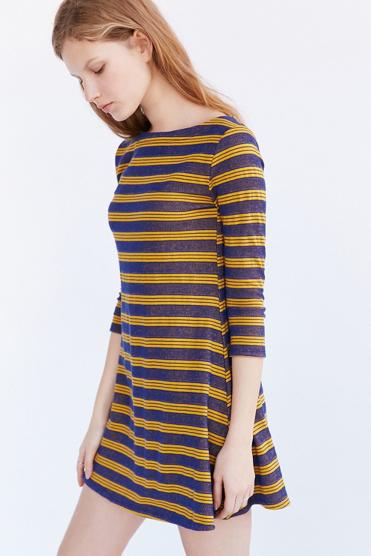 Lyst bdg boaty striped t shirt dress in blue for Blue striped dress shirt