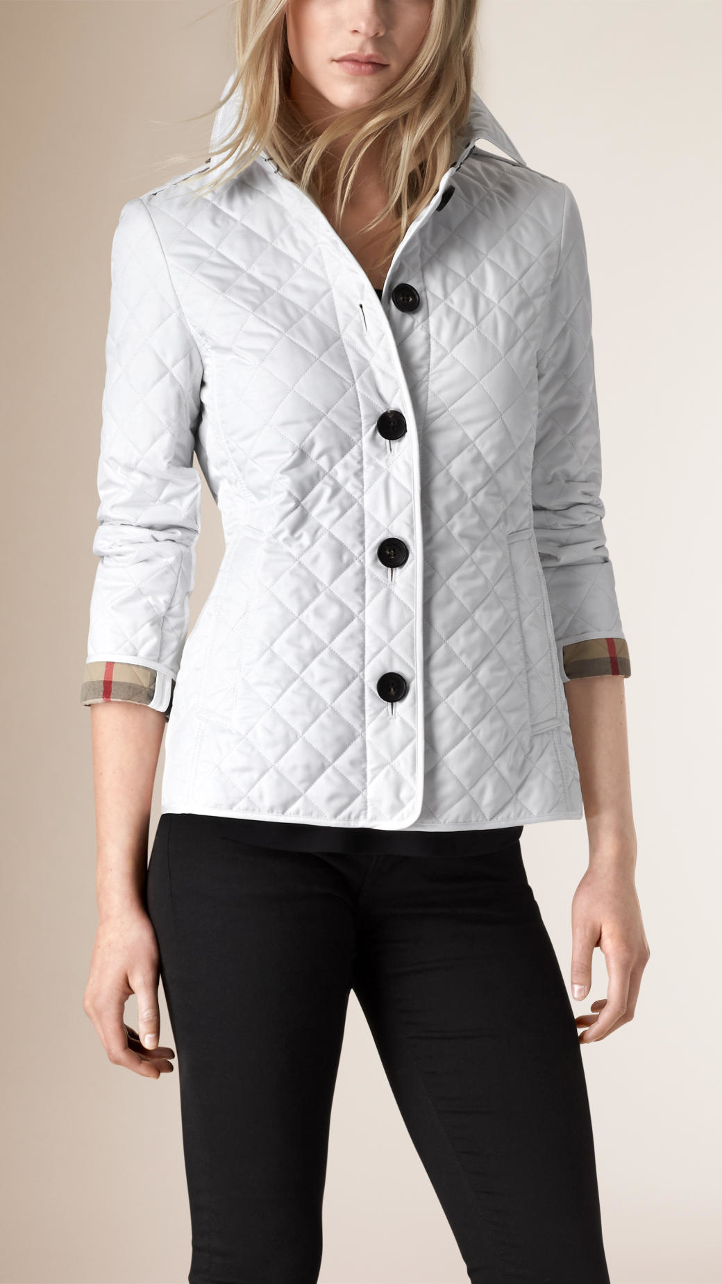 Lyst - Burberry Diamond-Quilted Jacket in White : white quilted coat - Adamdwight.com
