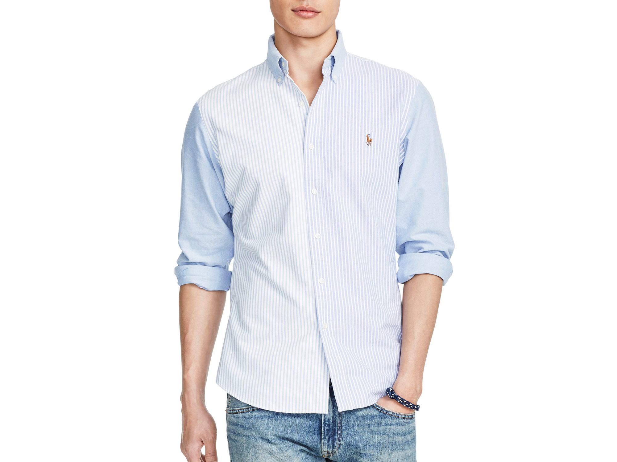 cd5ac8aab7aa22 Ralph Lauren Polo Patterned Oxford Slim Fit Button Down Shirt in ...