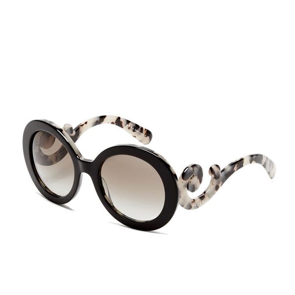 prada womens catwalk minimal baroque sunglasses in black