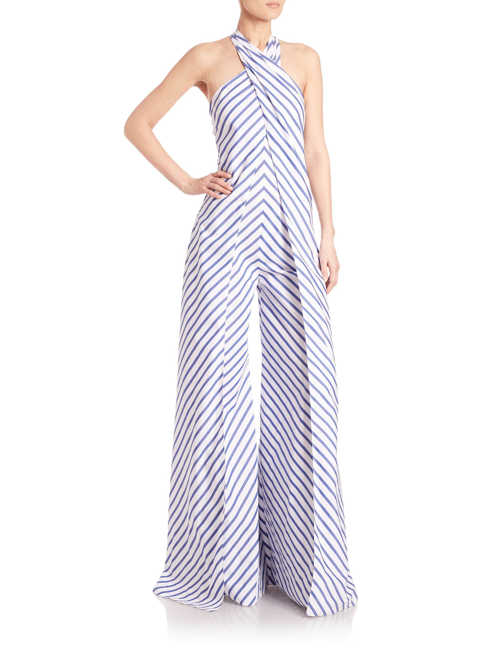 c79366f56f13 Lyst - Ralph Lauren Collection Adelaide Striped Wide-leg Halter ...