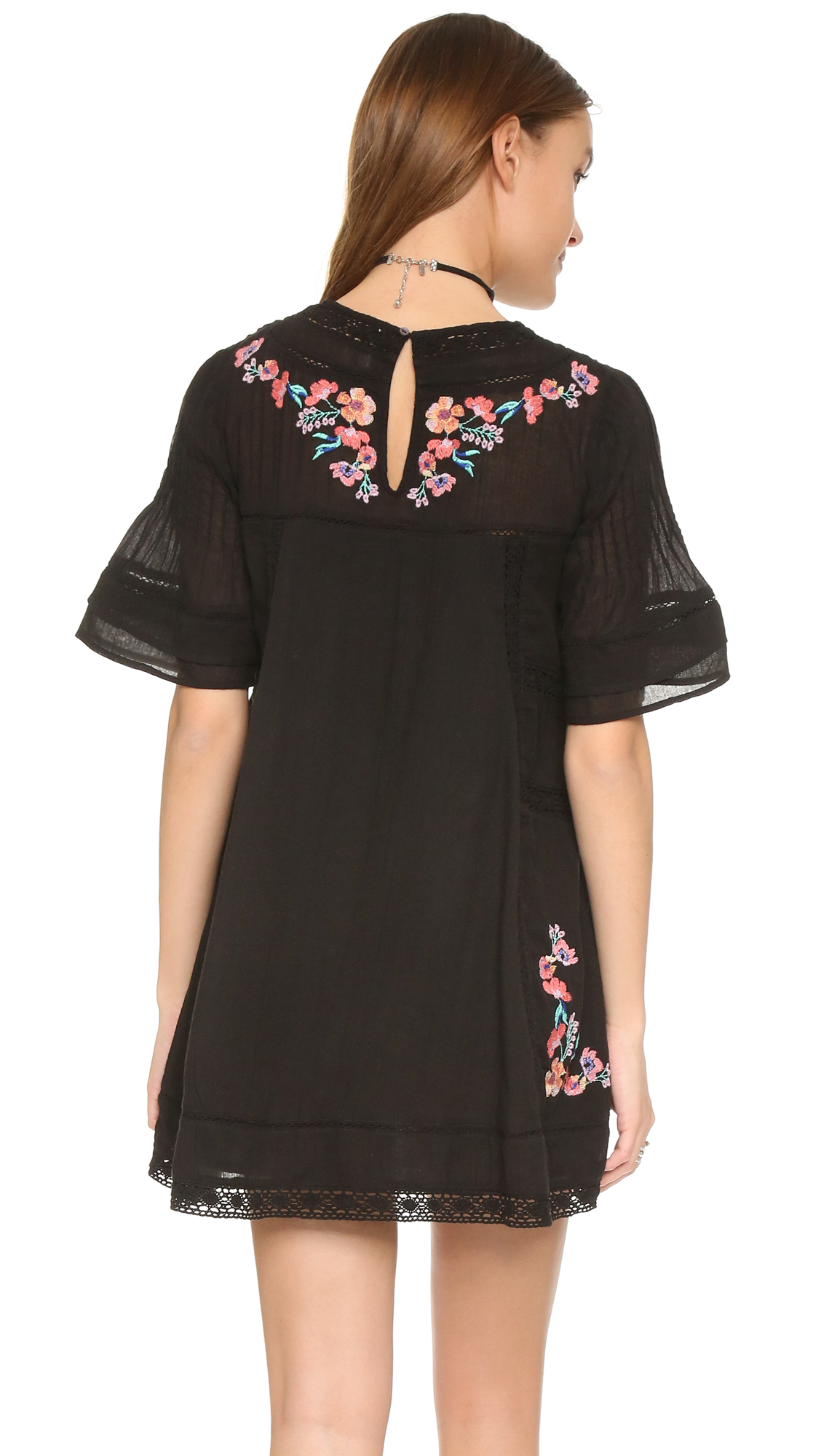 Free People Perfectly Victorian Embroidered Mini Dress Lyst