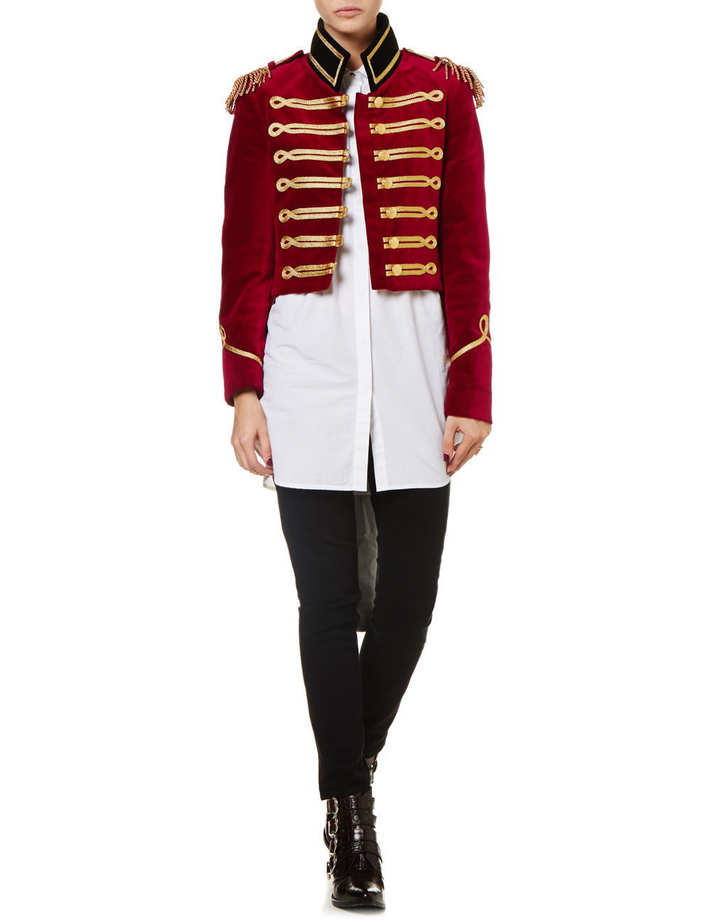 Pinky Laing Burgundy Velvet Military Tailcoat Jacket In