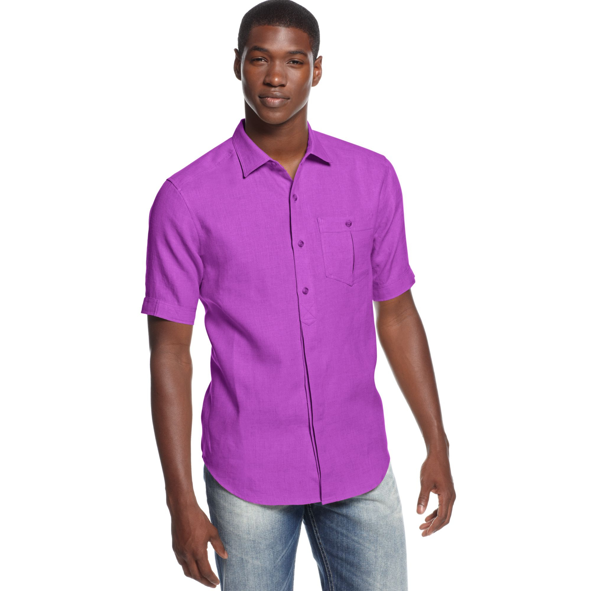 Sean John Big And Tall Solid Woven Linen Shirt In Purple