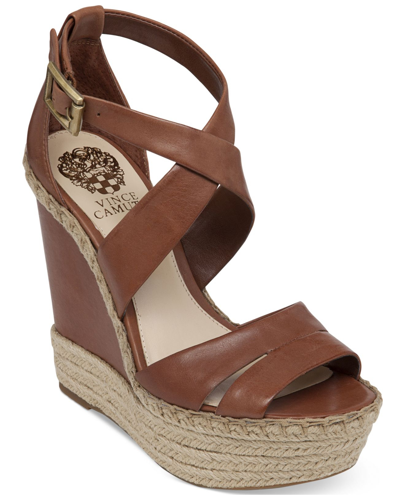 6aae06330 Vince Camuto Marcela Espadrille Platform Wedge Sandals in Brown - Lyst