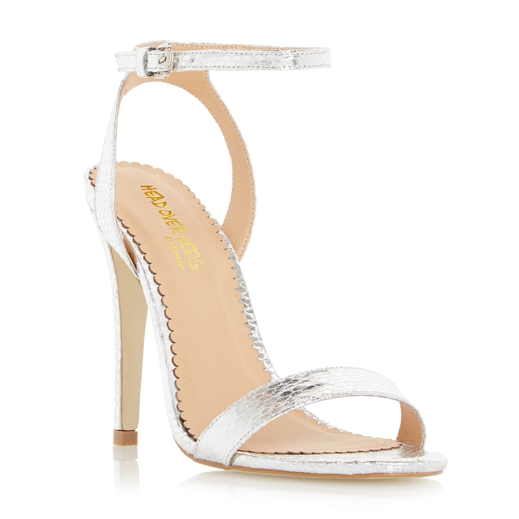 Silver Strappy High Heel Sandals - Is Heel