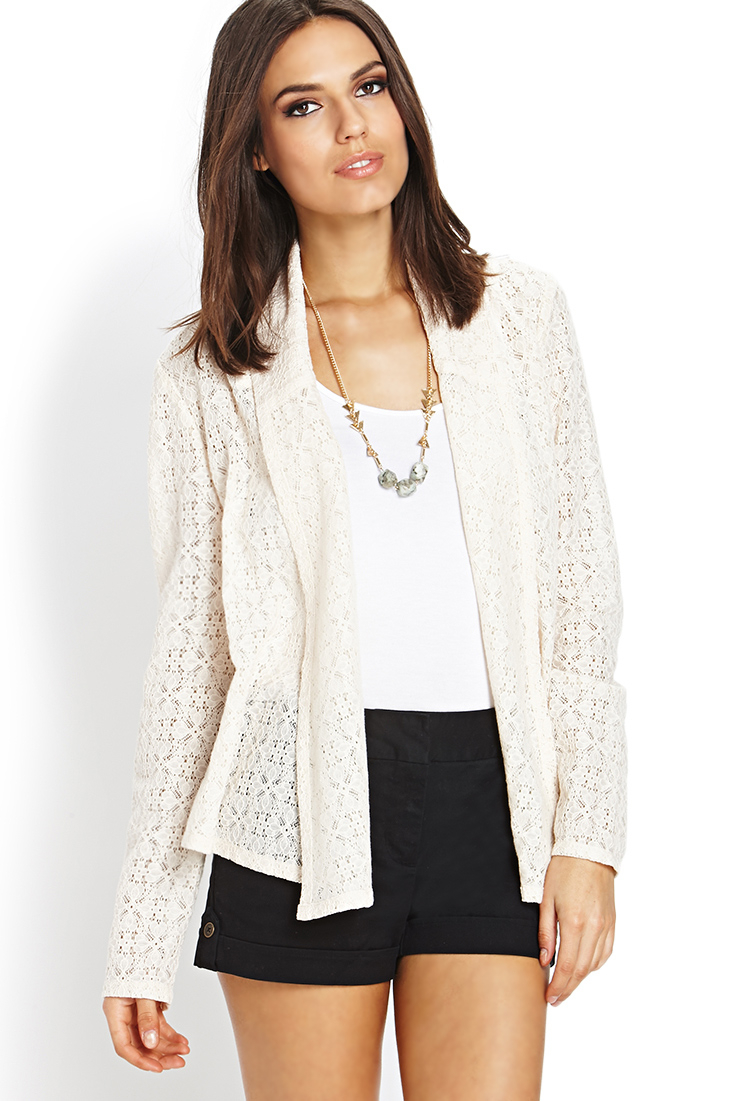 Forever 21 Contemporary Wistful Lace Cardigan in Natural | Lyst