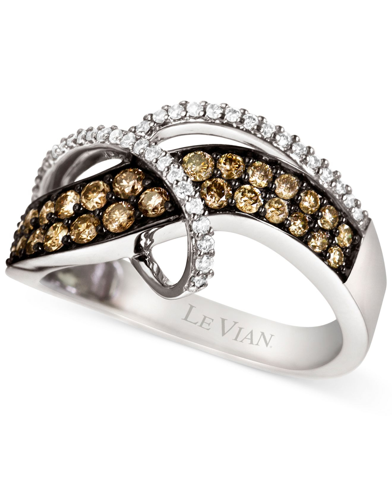 Le vian Chocolate And Vanilla Diamond Swirl Ring In 14k White Gold ...