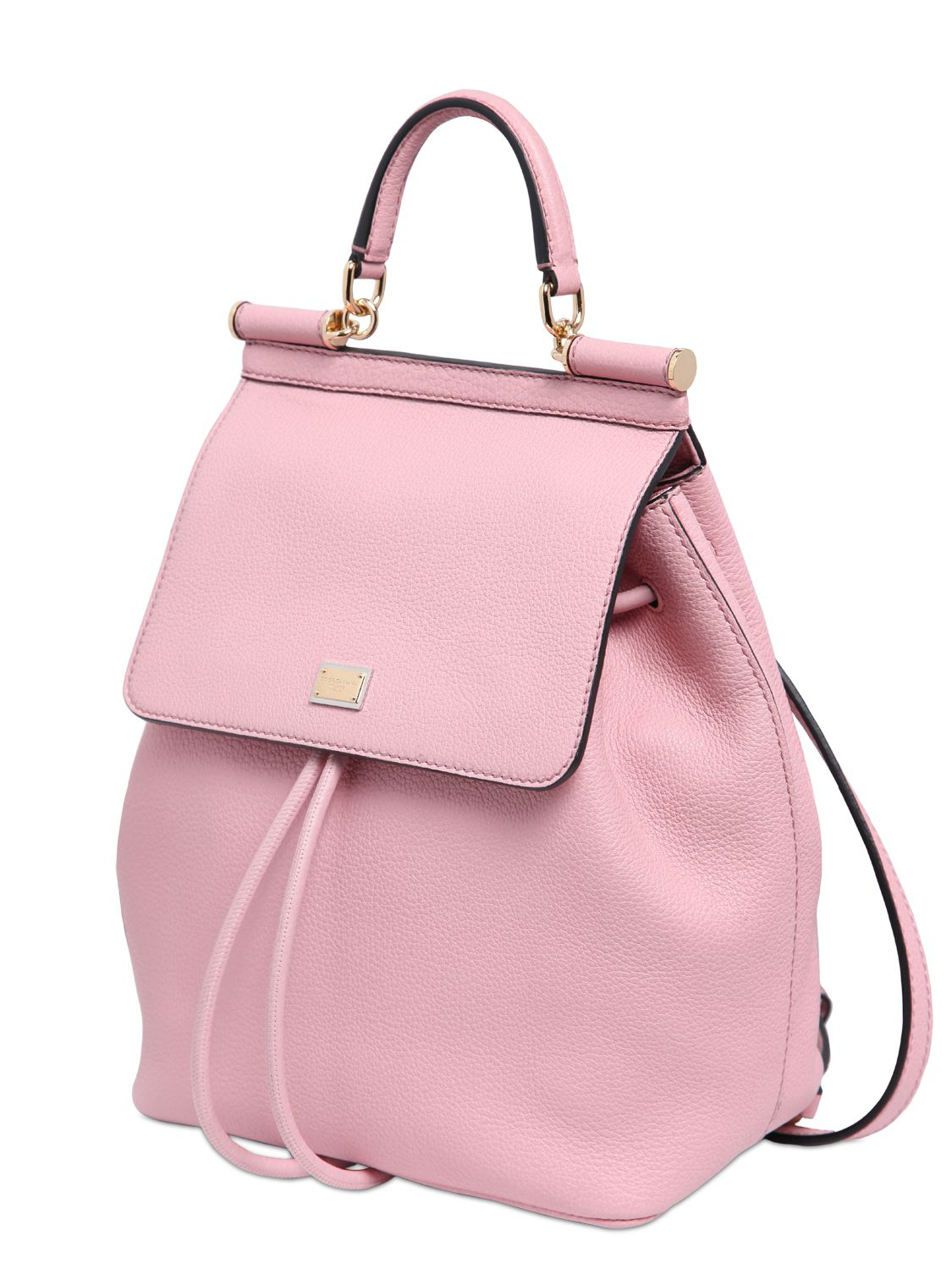 Dolce & gabbana Sicily Grained Leather Backpack in Pink | Lyst