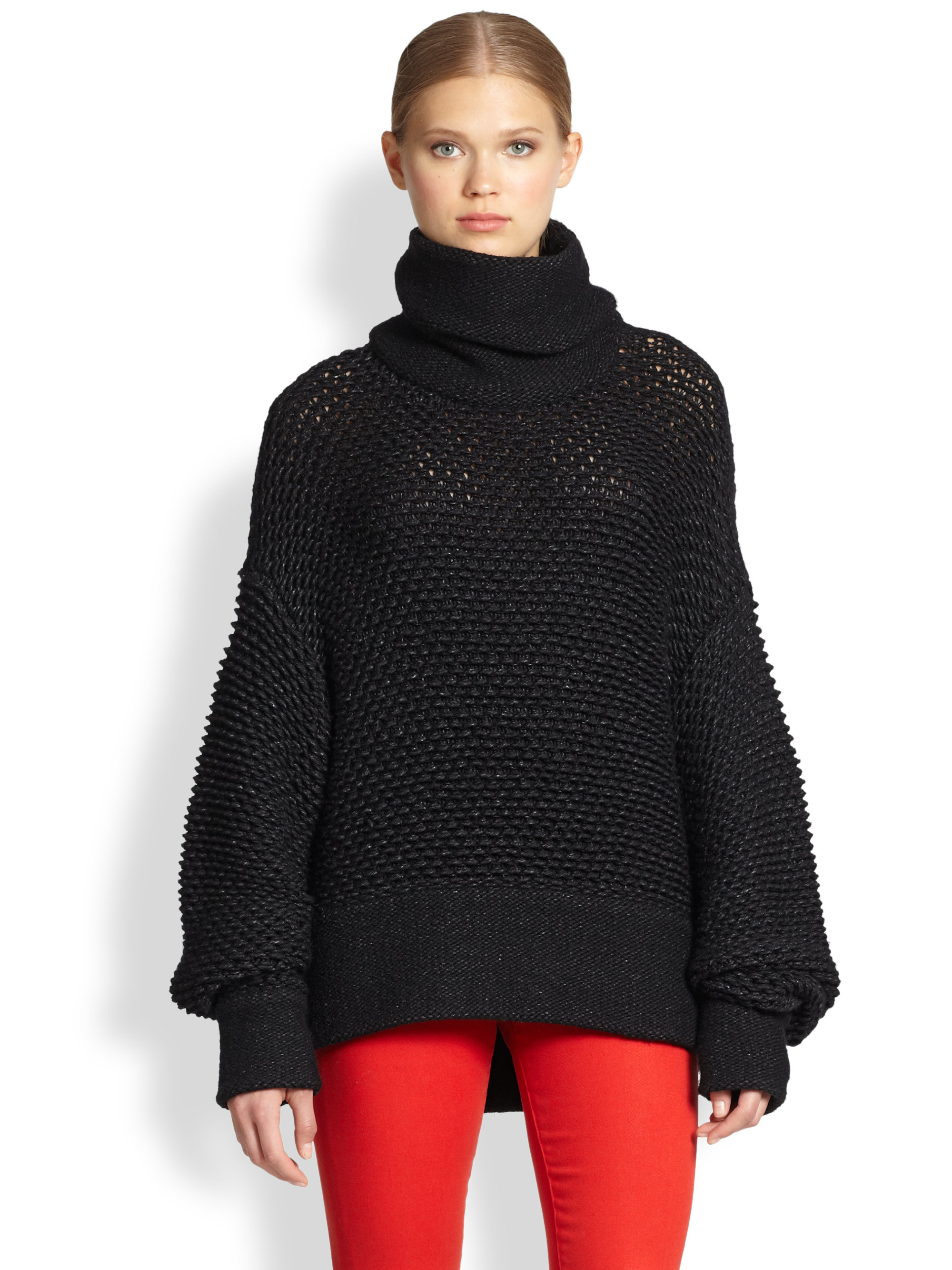 Helmut lang Opacity Intarsia Slouchy Turtleneck Sweater in Black ...