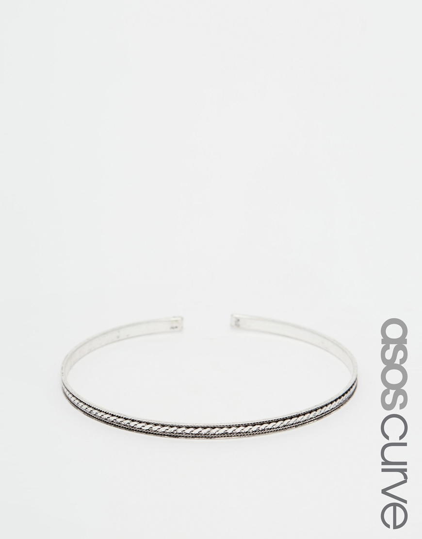 Asos Engraved Burnished Arm Cuff - Silver f8rEXcNAo