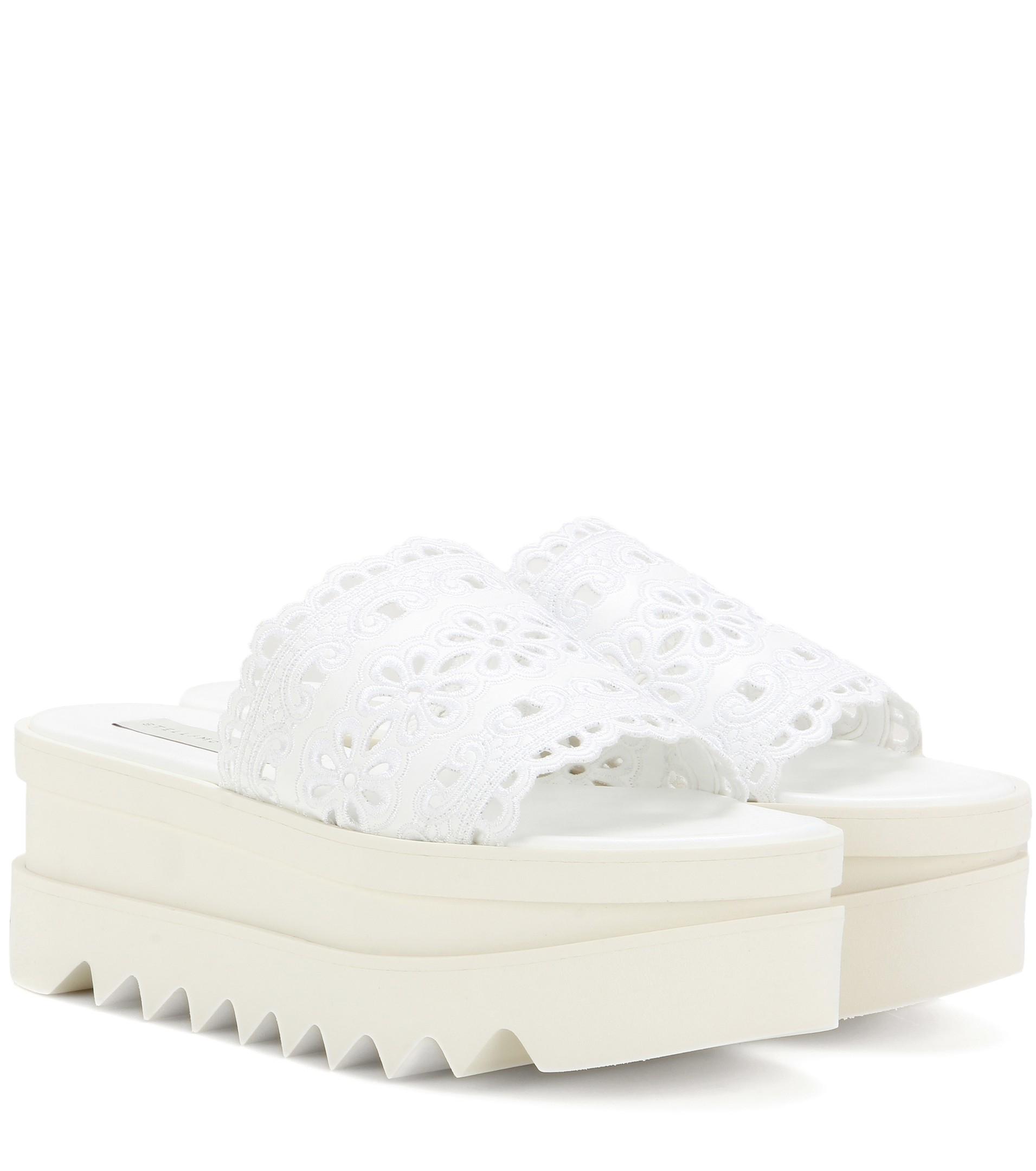 e4927335c4e Lyst - Stella McCartney Slip-on Crochet Platform Sandals in White