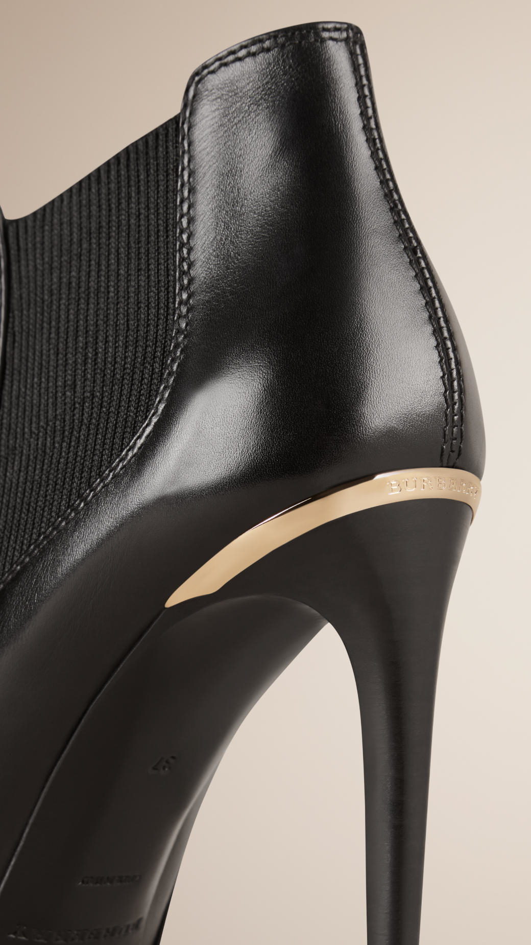 Burberry Peep-toe Leather Ankle Boots in Black