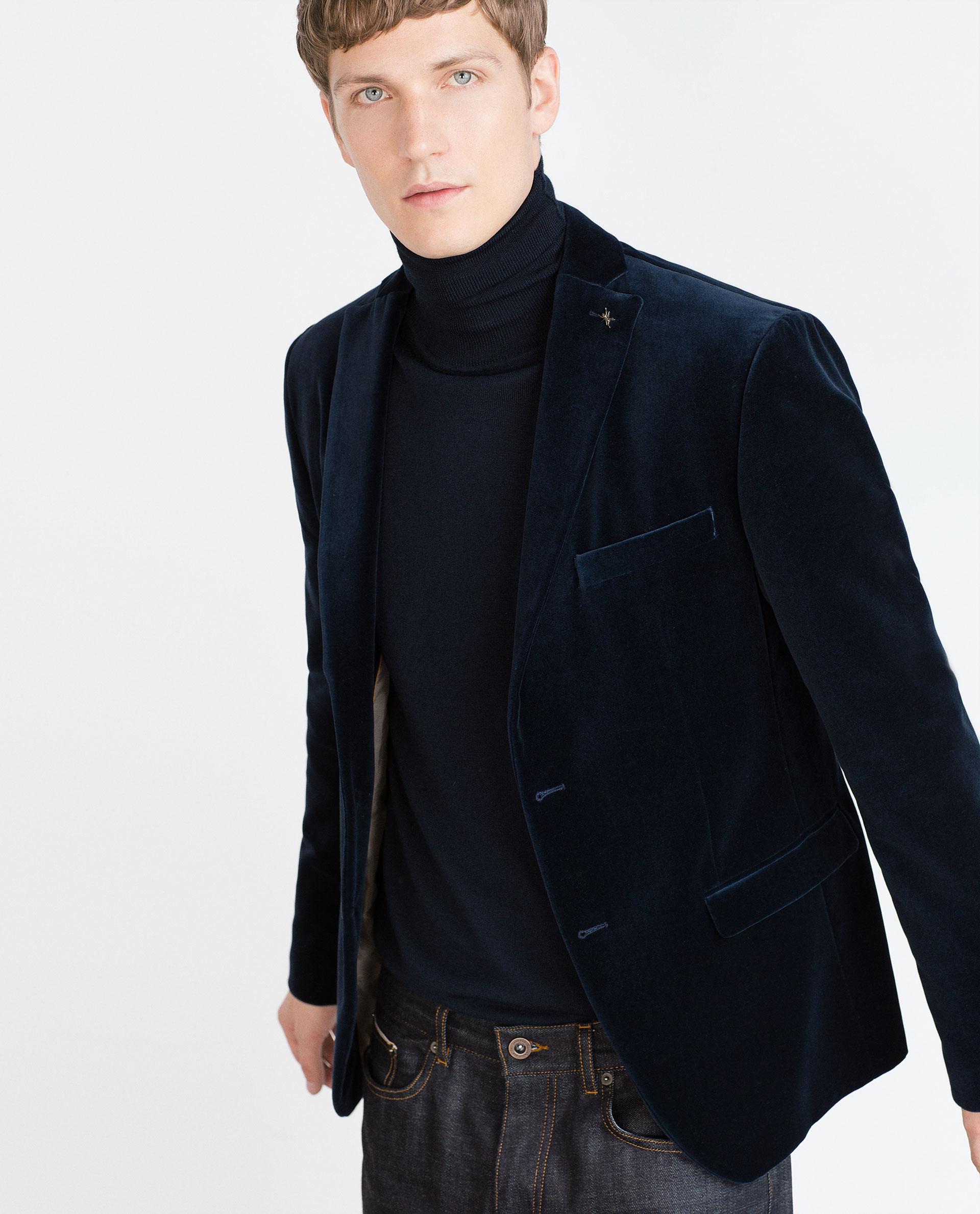 Zara Velvet Blazer In Blue For Men | Lyst