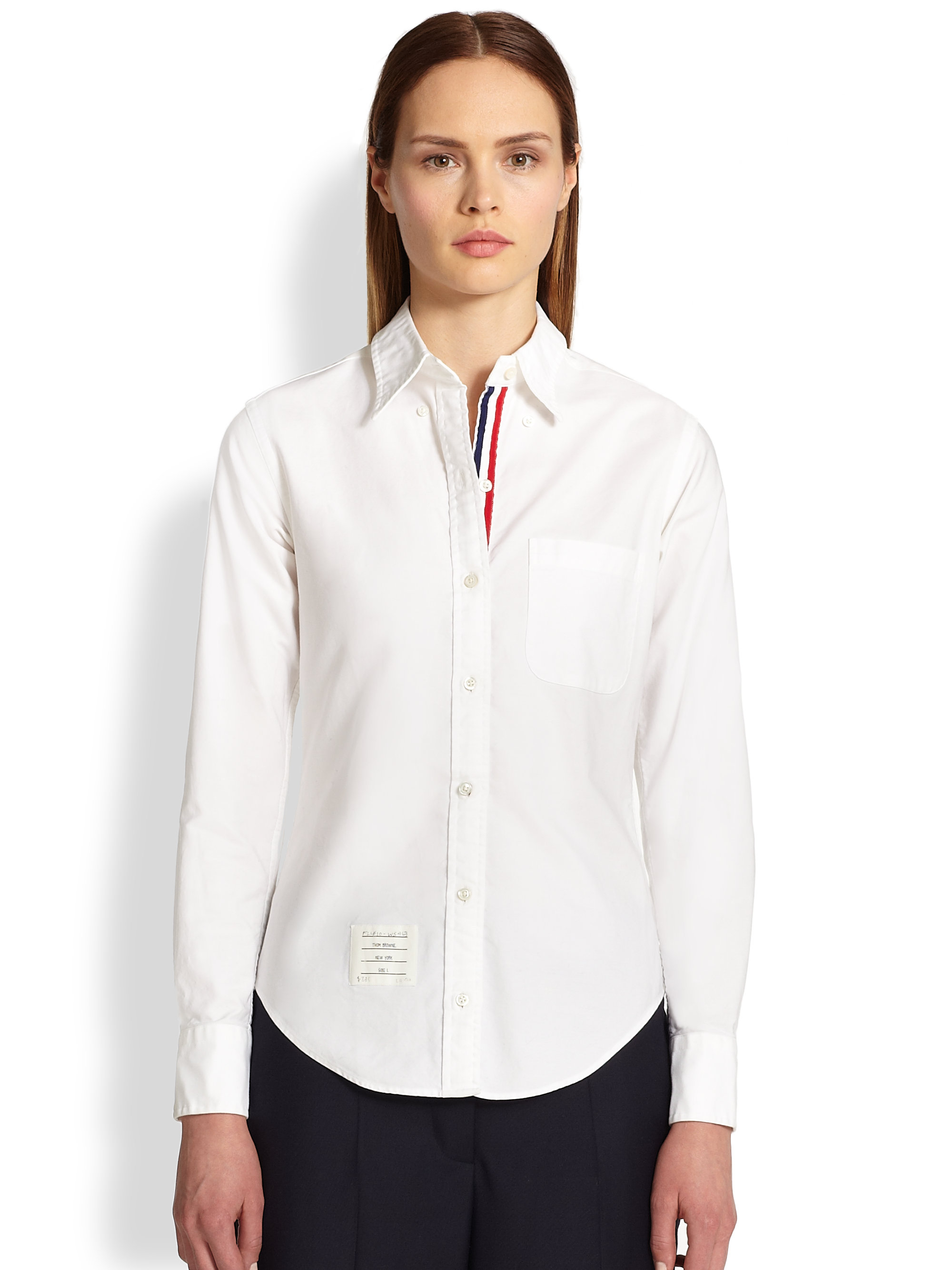 Lyst thom browne classic poplin shirt in white for Thom browne white shirt