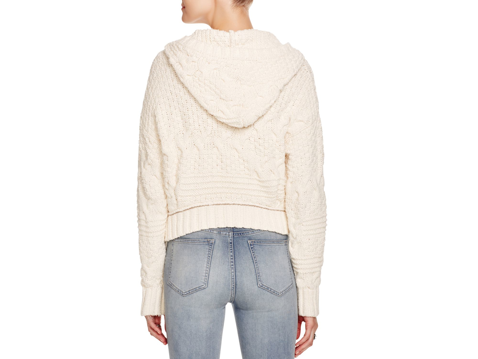 Free people Cable Knit Hoodie Sweater in Natural | Lyst