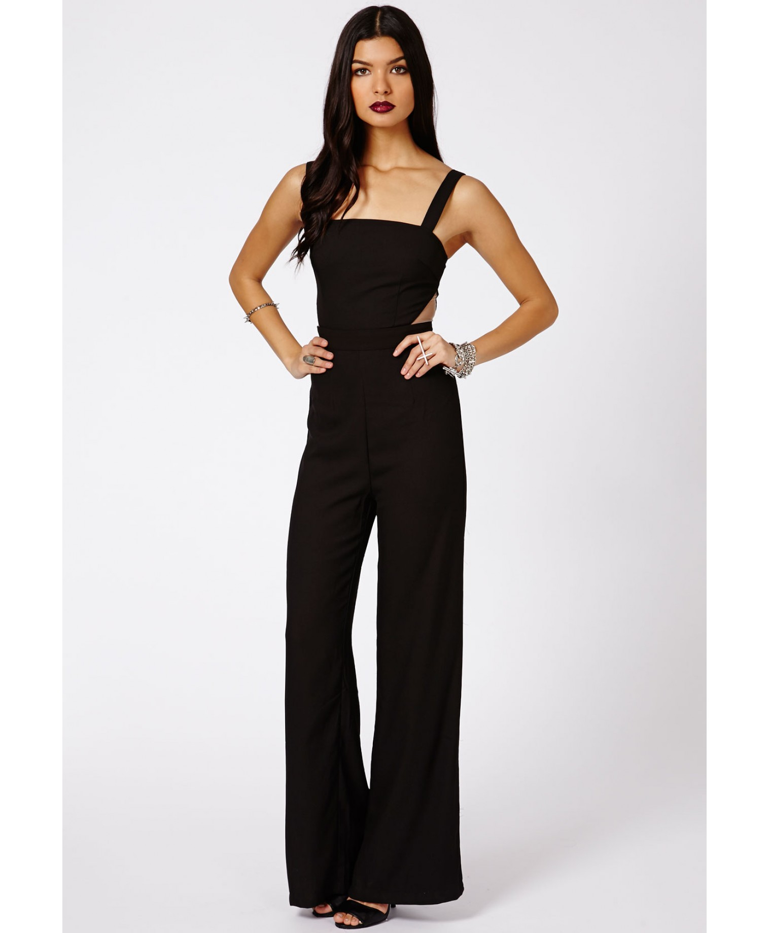 872bcebc072 Lyst - Missguided Vovera Mesh Cut Out Detail Jumpsuit in Black