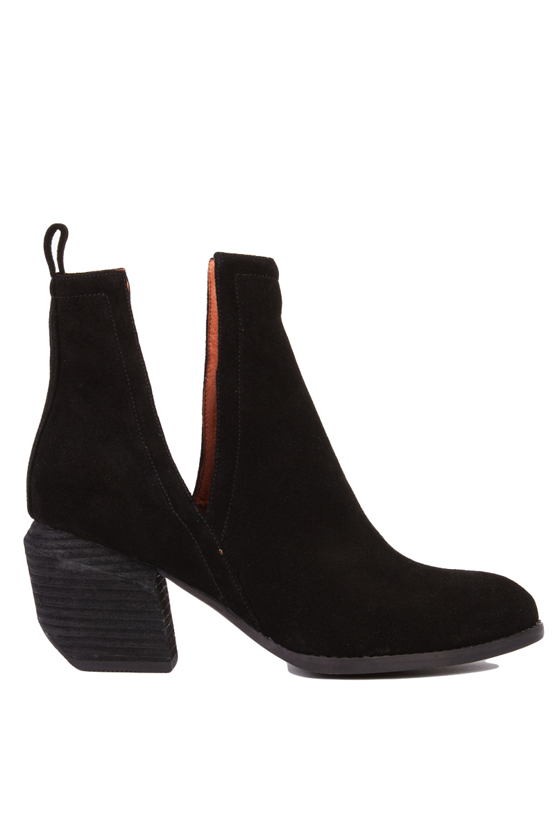Jeffrey Campbell Orwell 2 Open-side Ankle Boots - Black Suede