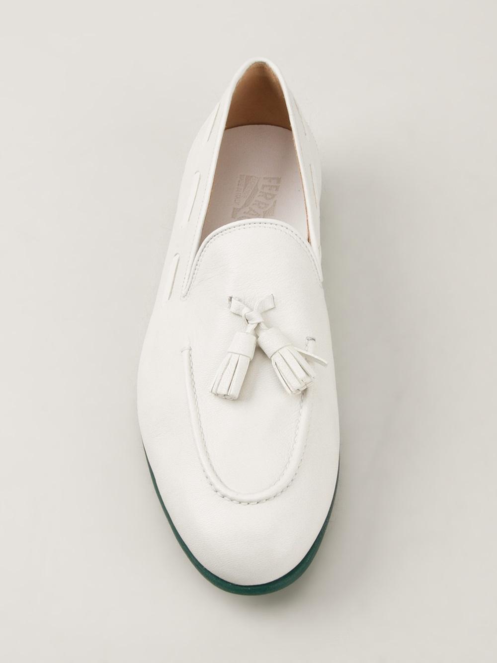 Ferragamo Riva Tassel Loafer in White