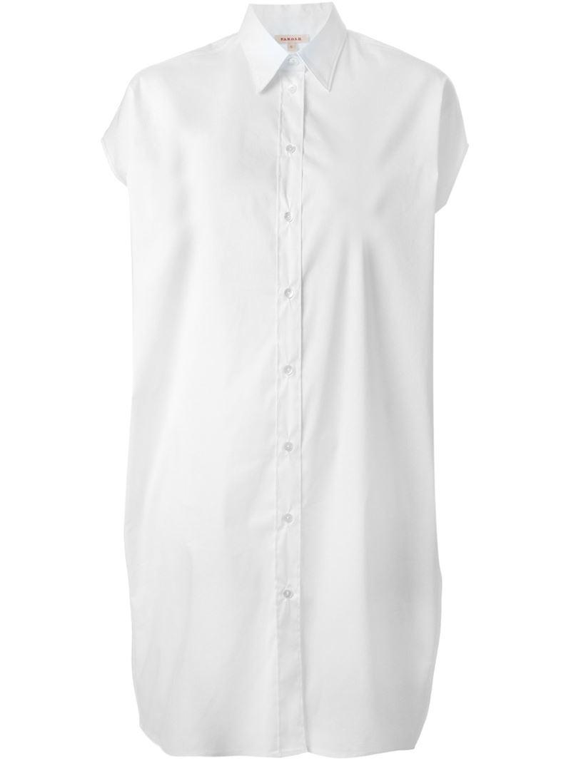 Parosh Short Sleeve Shirt Dress In White Lyst