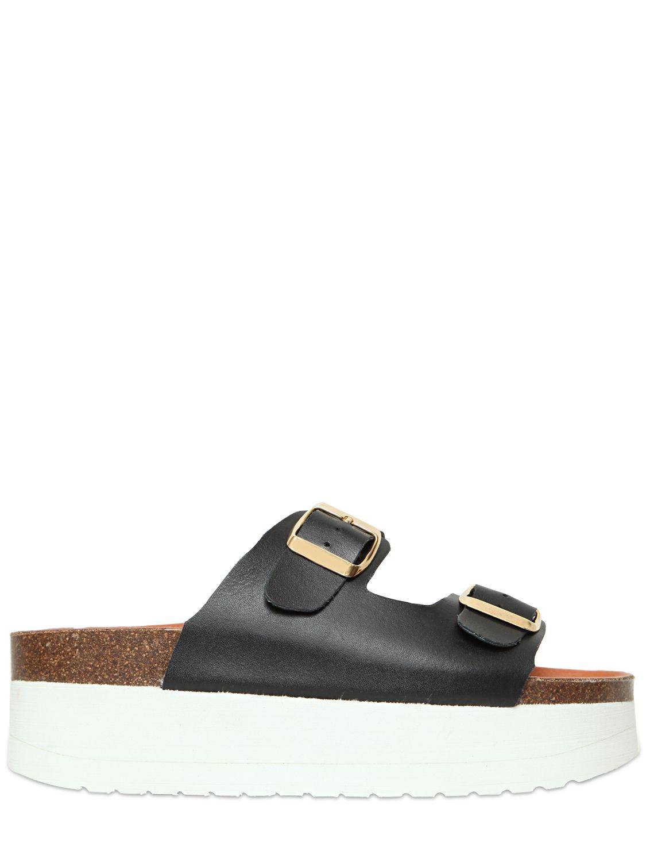 Kg By Kurt Geiger 60mm Leather Platform Slide Sandals In