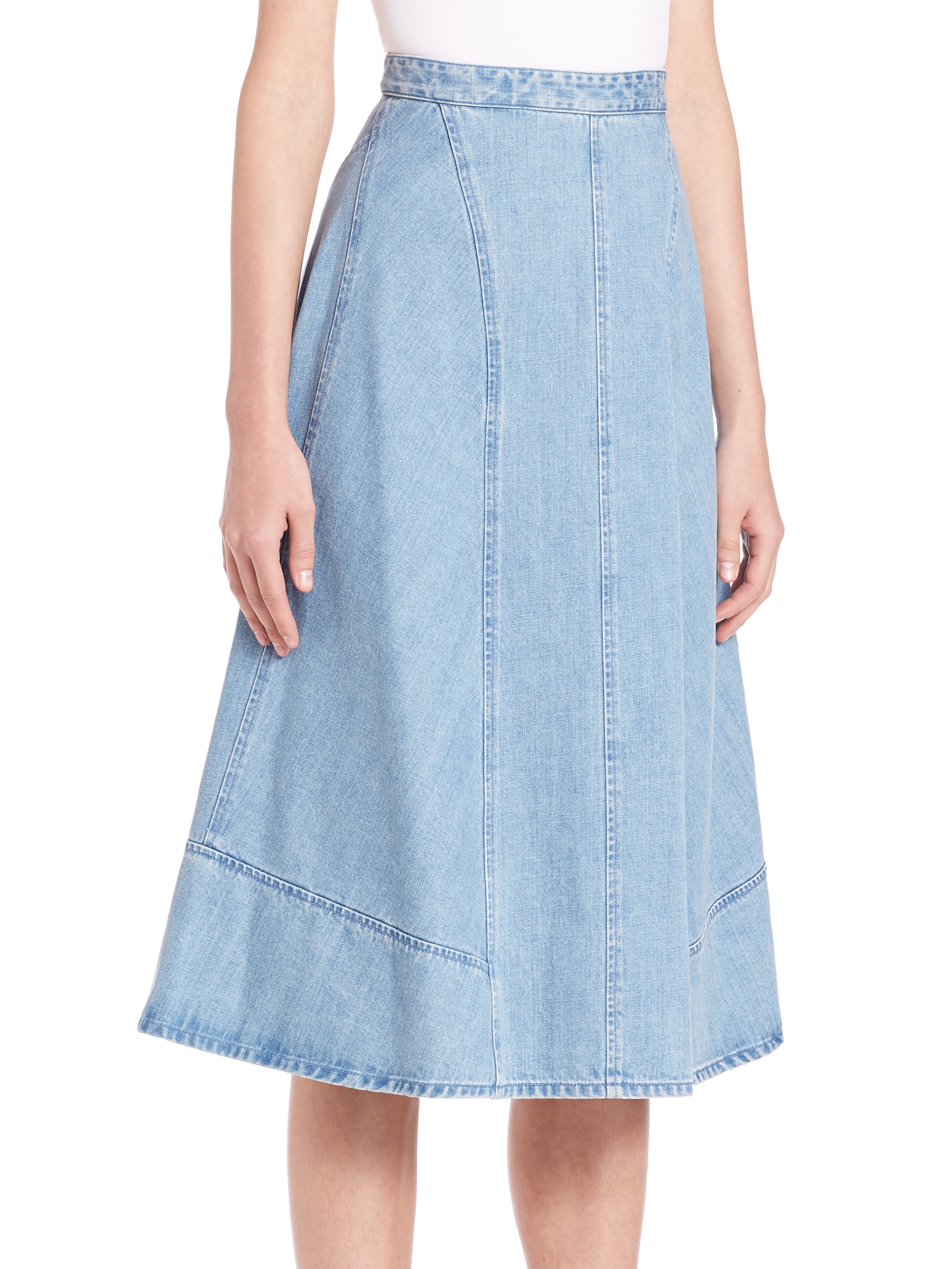 Lyst Michael Kors Denim Midi Skirt In Blue