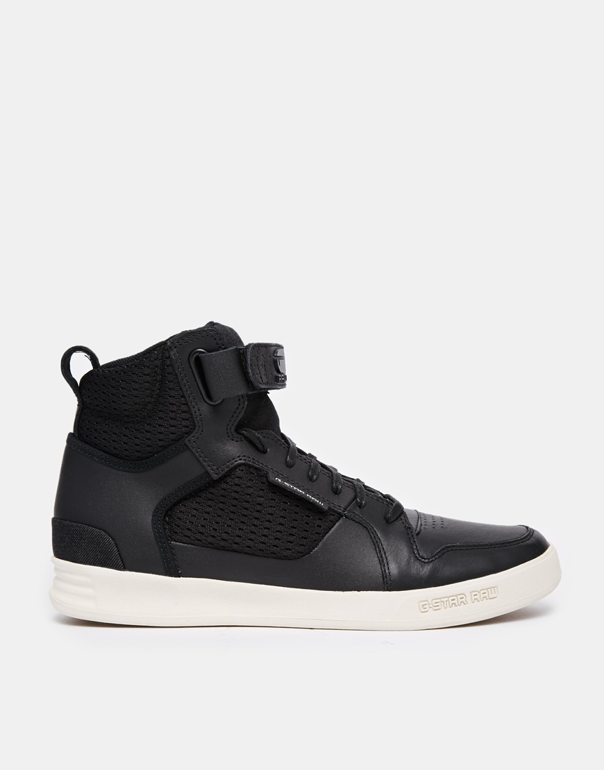 g star raw bullion tech hi sneakers in black for men lyst. Black Bedroom Furniture Sets. Home Design Ideas