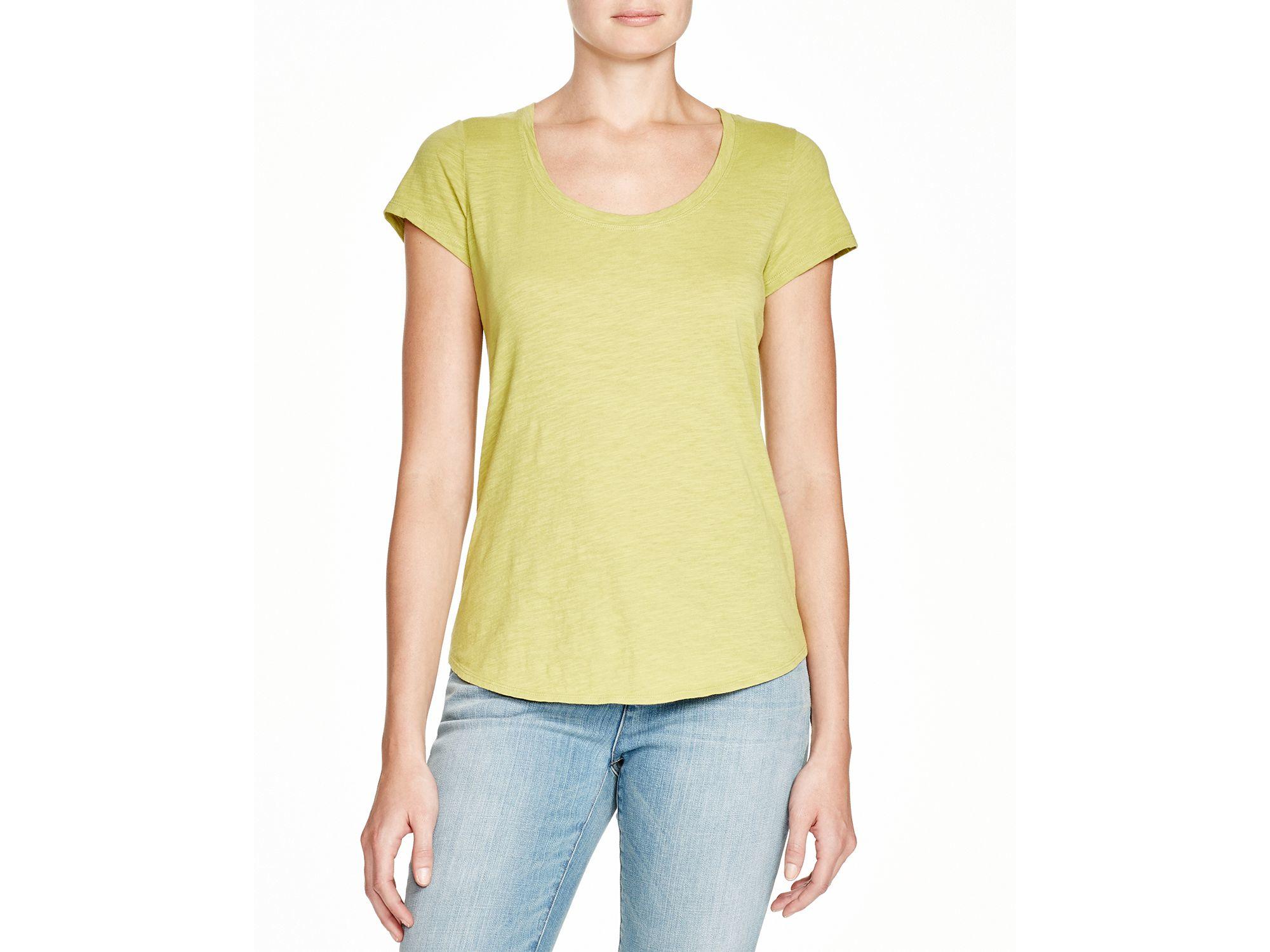 Eileen fisher organic cotton scoop neck tee in green moss for Eileen fisher organic cotton t shirt