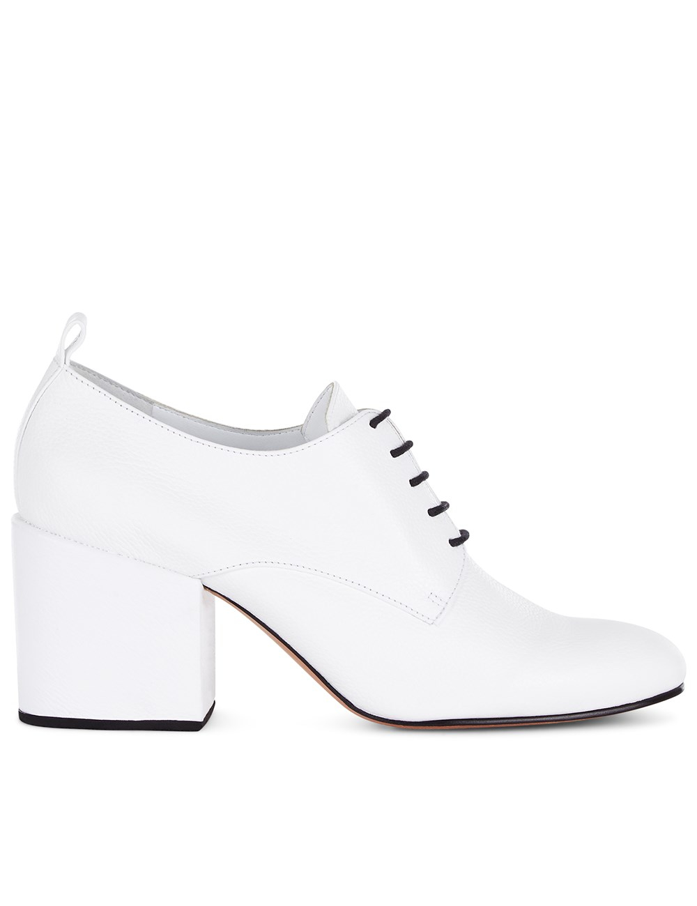 comey white leather block heel shoes in white lyst
