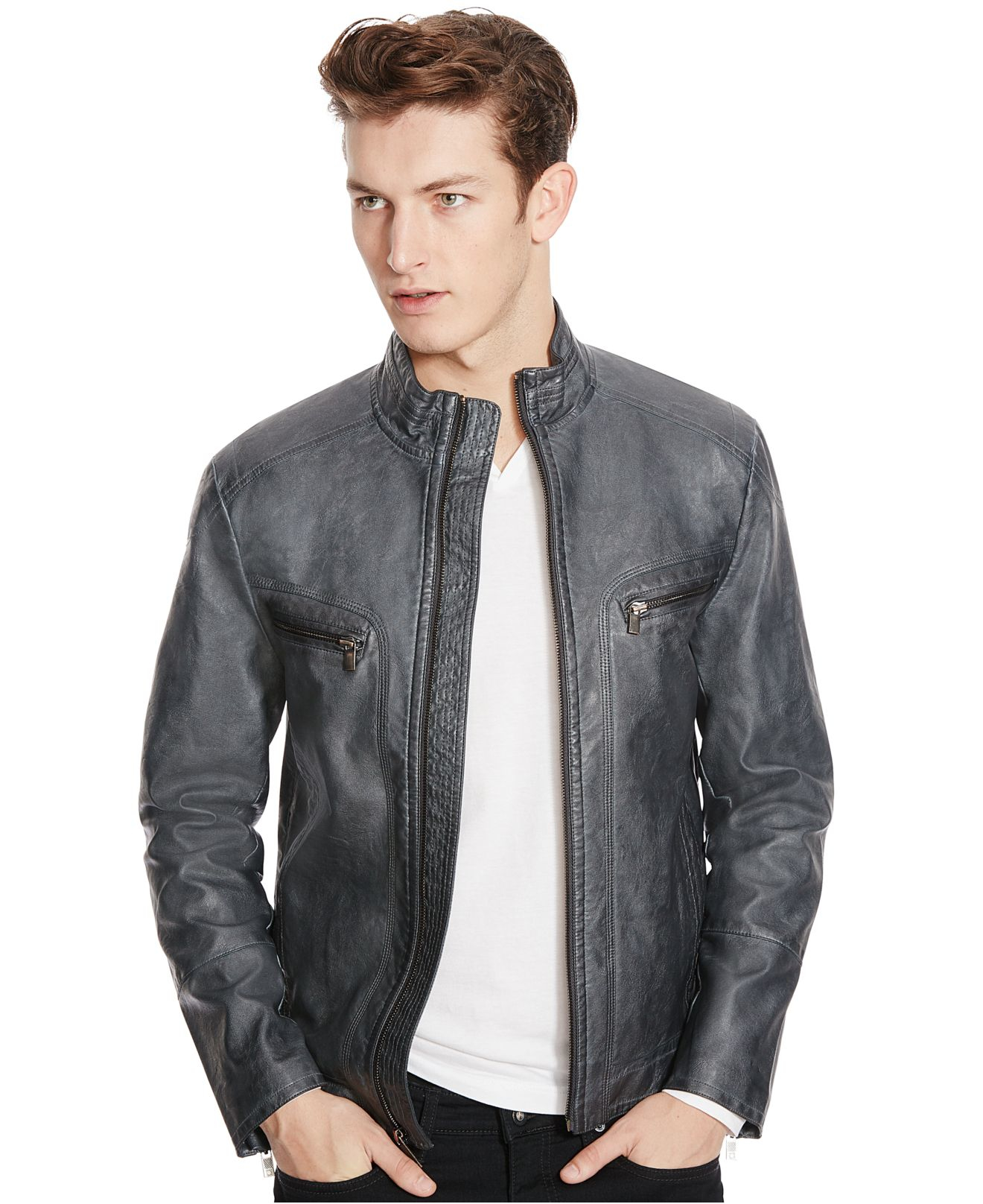 c23241c7f Kenneth Cole Reaction Blue Faux-leather Moto Jacket for men