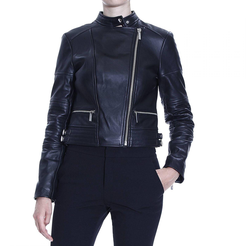 michael kors jacket leather biker in black lyst. Black Bedroom Furniture Sets. Home Design Ideas