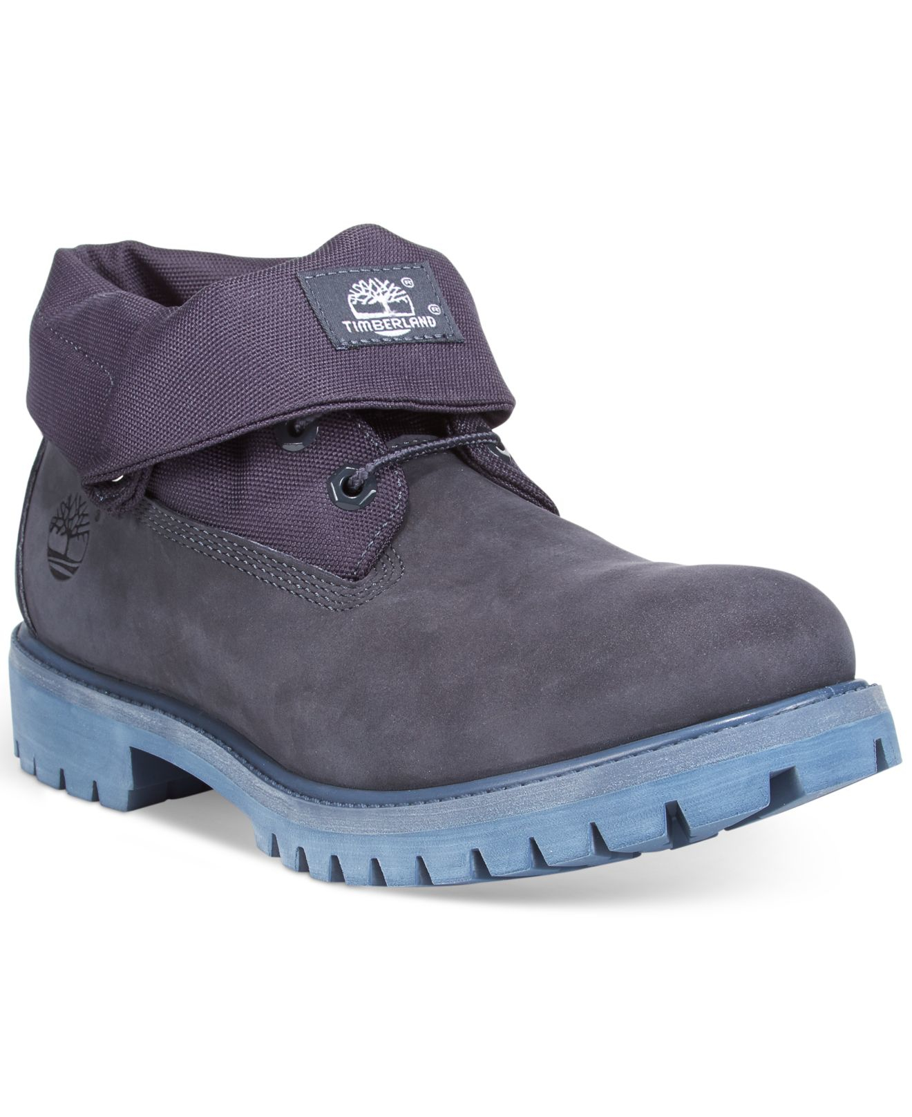 timberland s roll top waterproof boots in blue for