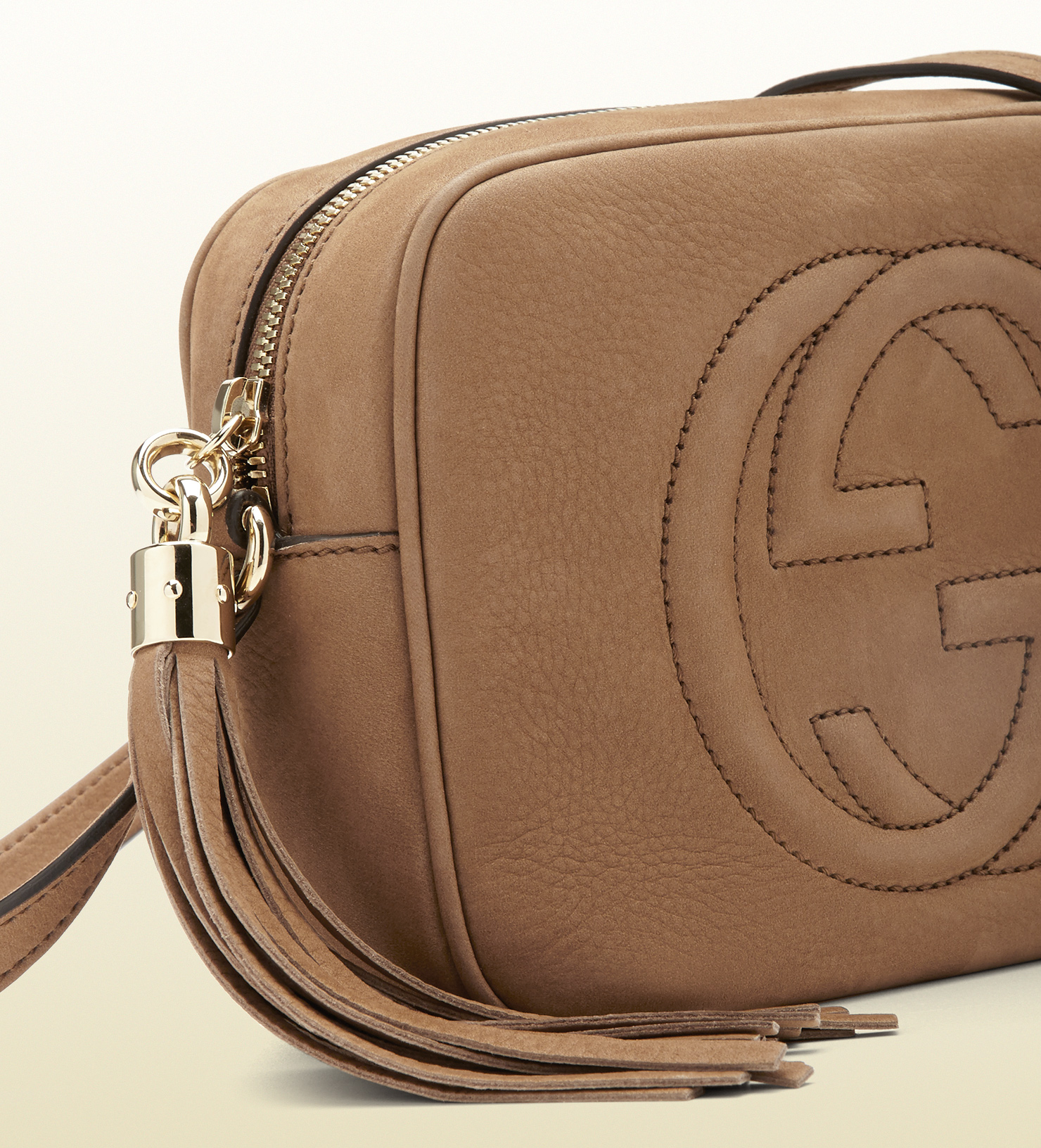 2a9d4f0d9e8 Lyst - Gucci Soho Nubuck Leather Disco Bag in Brown