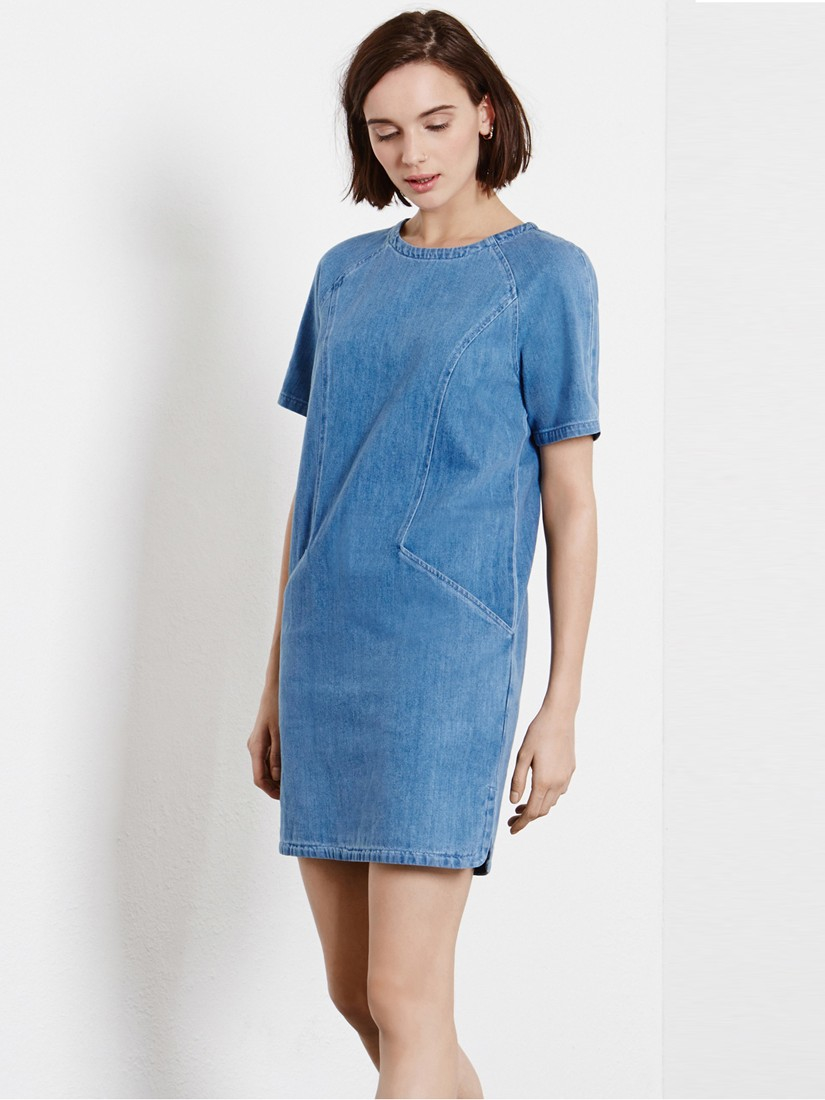 Warehouse Denim Shift Dress in Blue - Lyst