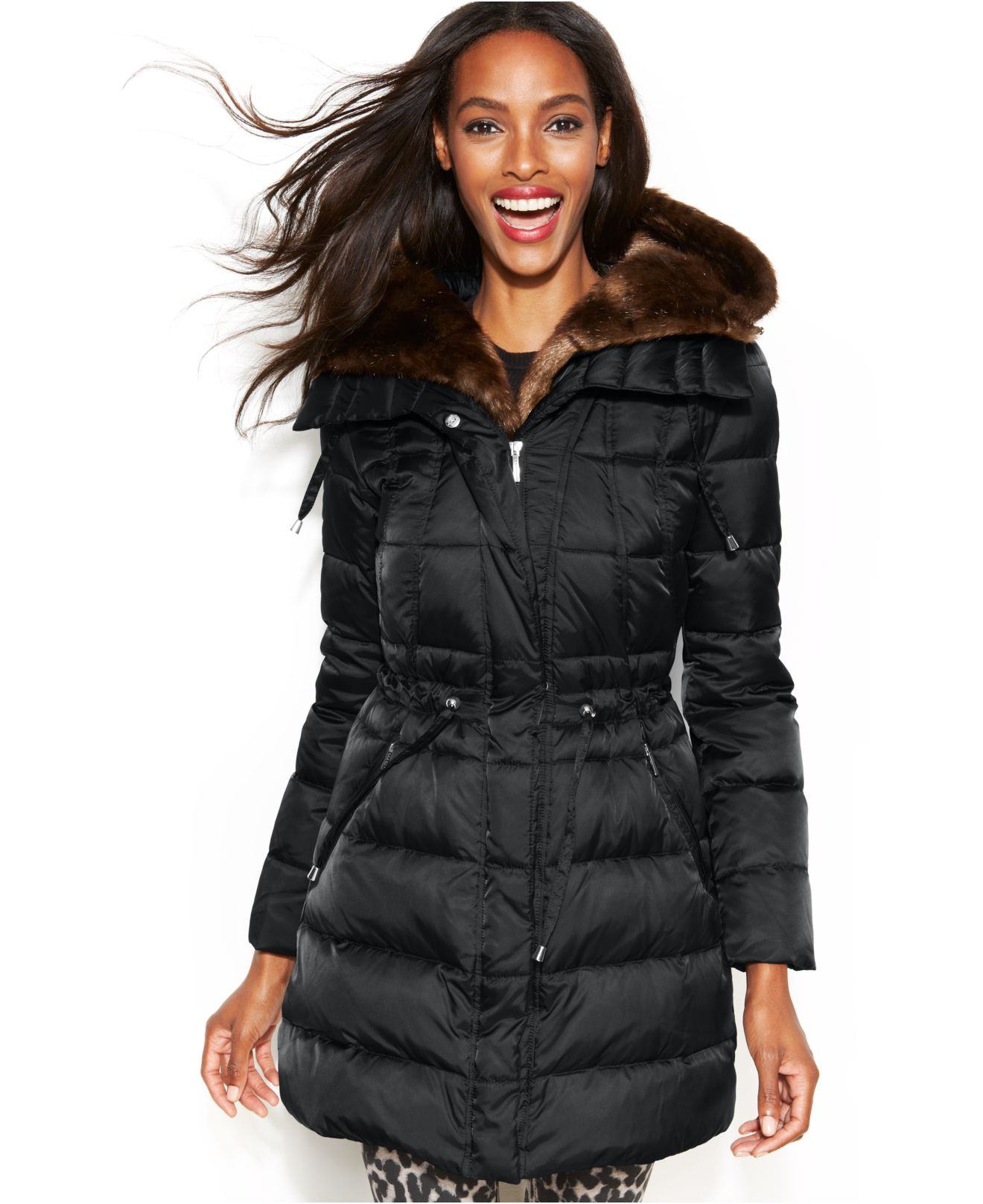Laundry By Shelli Segal Hooded Faux Fur Lined Belted Down Puffer Coat In Slate Black Lyst