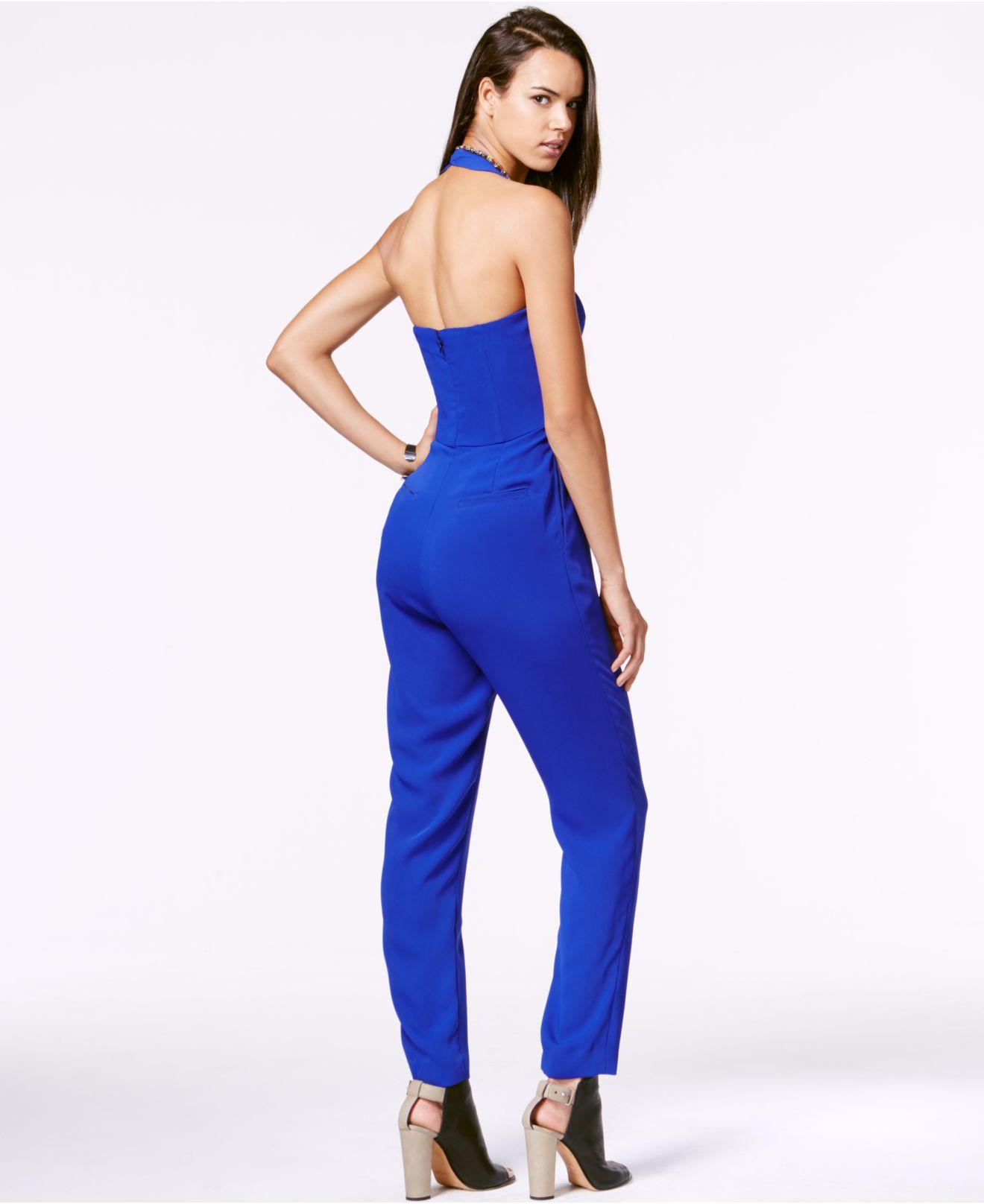326875240492 Lyst - RACHEL Rachel Roy Embellished Halter Jumpsuit in Blue