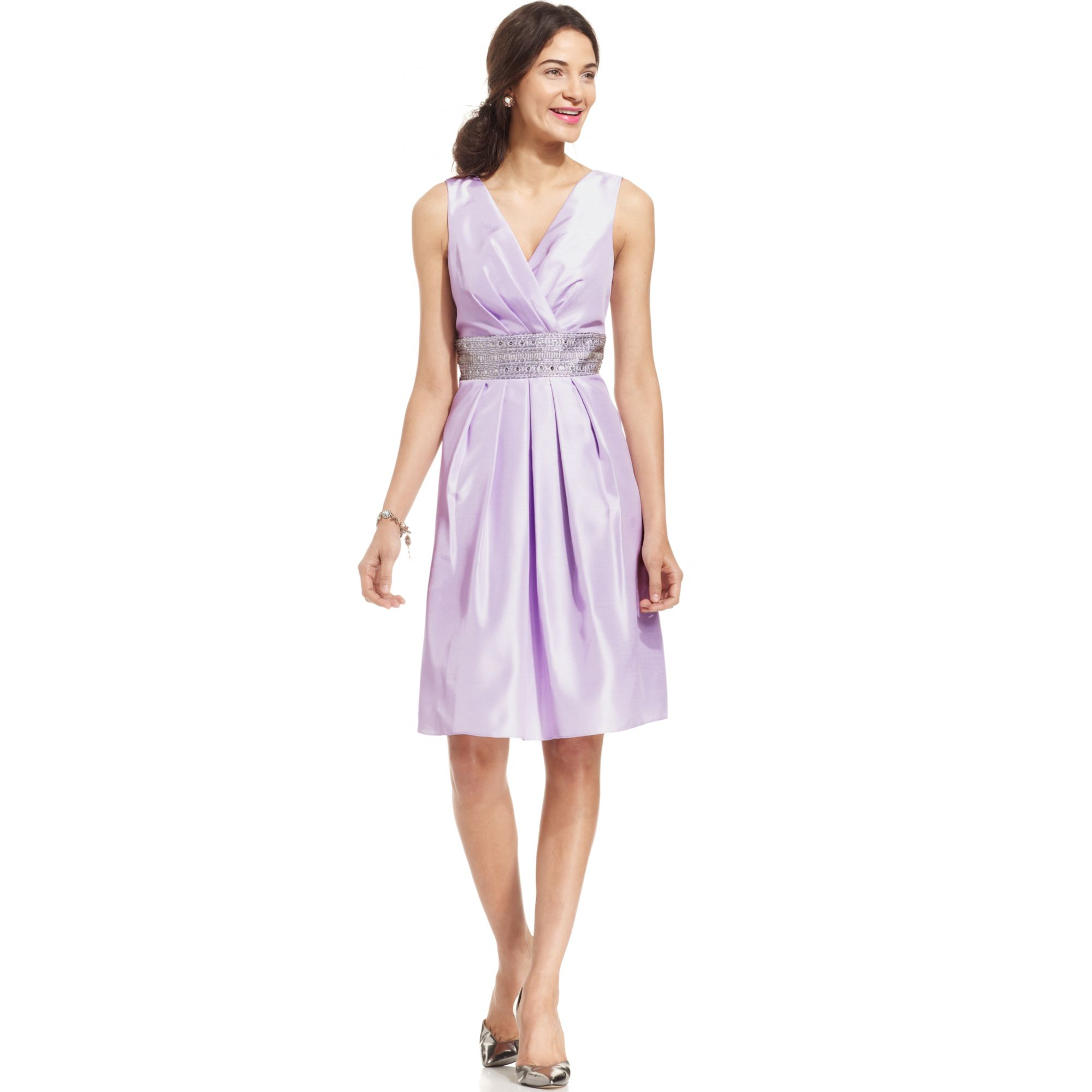 Lyst Js Boutique Sleeveless Sequined Dress In Purple