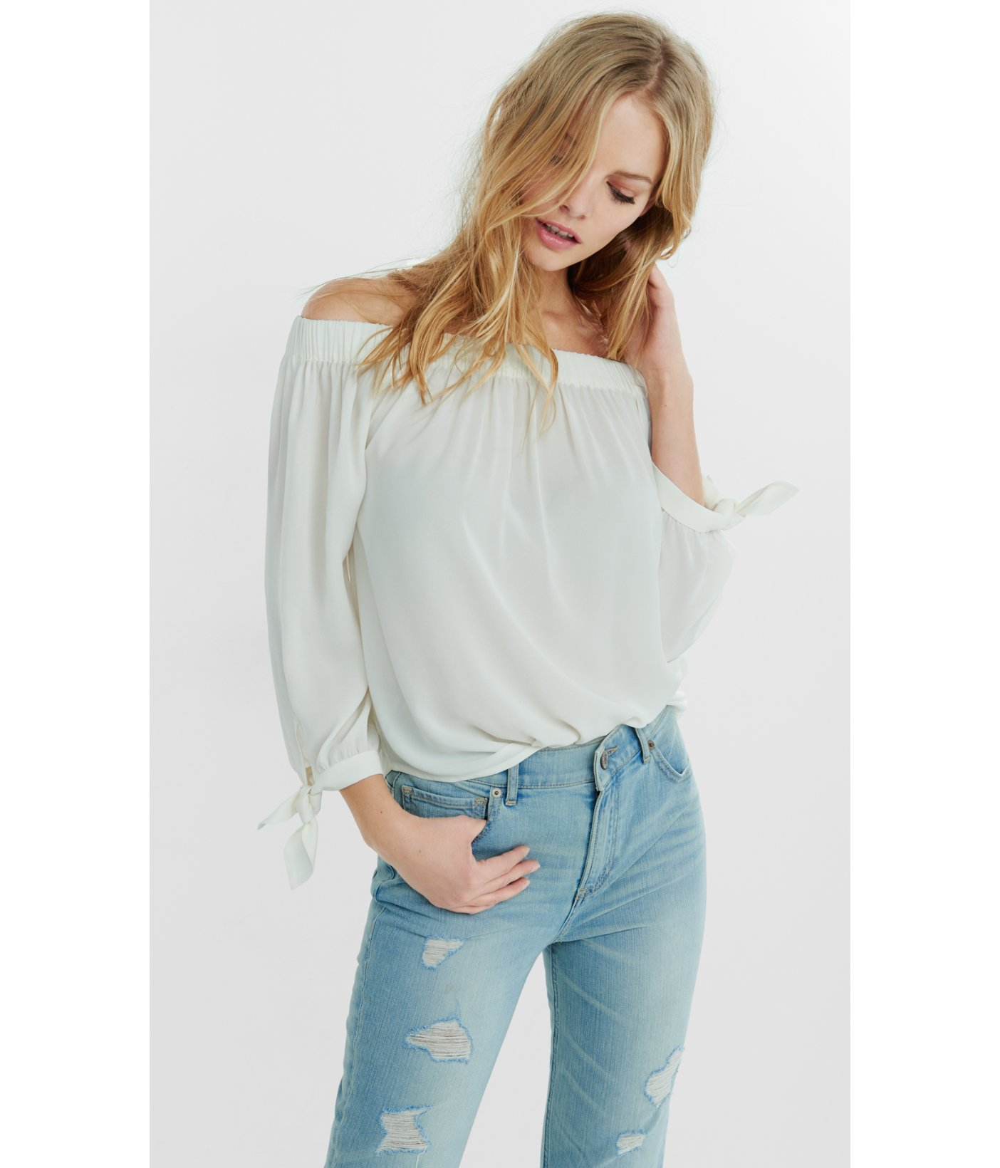 b0f6ef9e12c Express White Off The Shoulder Tie Sleeve Blouse