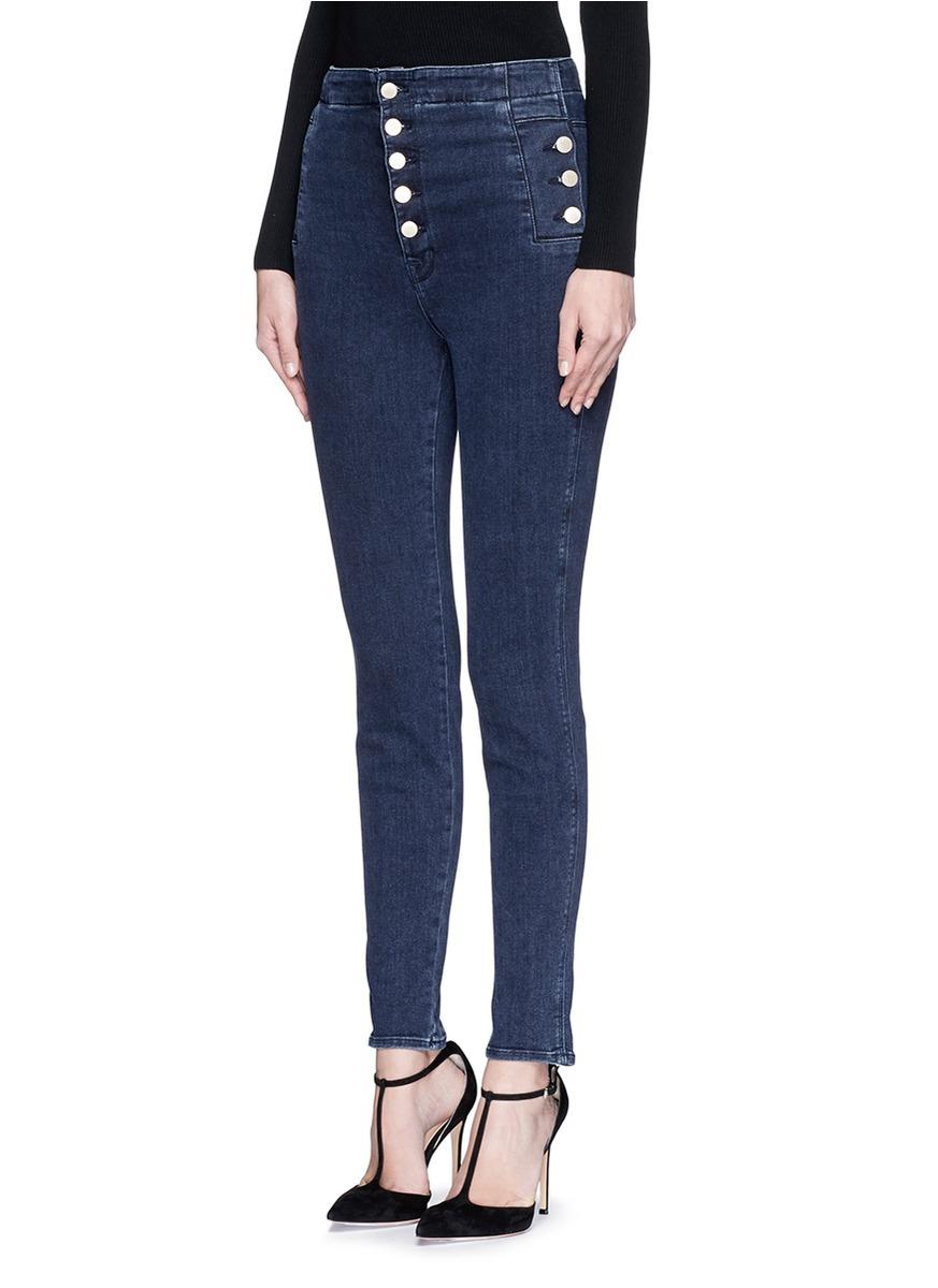 13e70dd4f17 Lyst - J Brand  natasha Sky High  High Waist Skinny Jeans in Blue