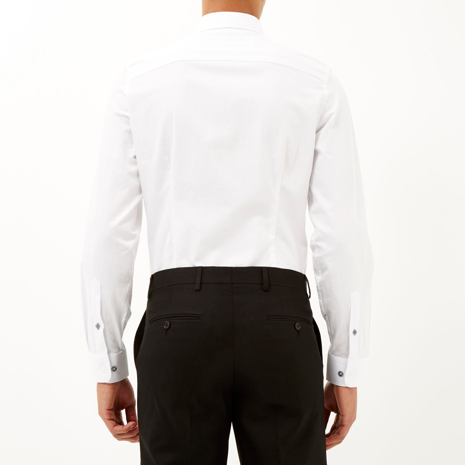 River Island White Point Collar Formal Shirt In White For