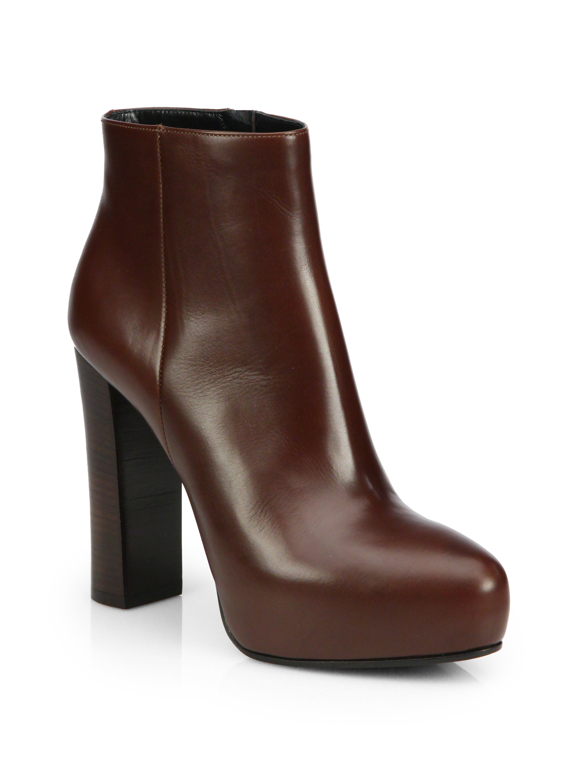 Prada Leather Ankle Boots in Brown | Lyst