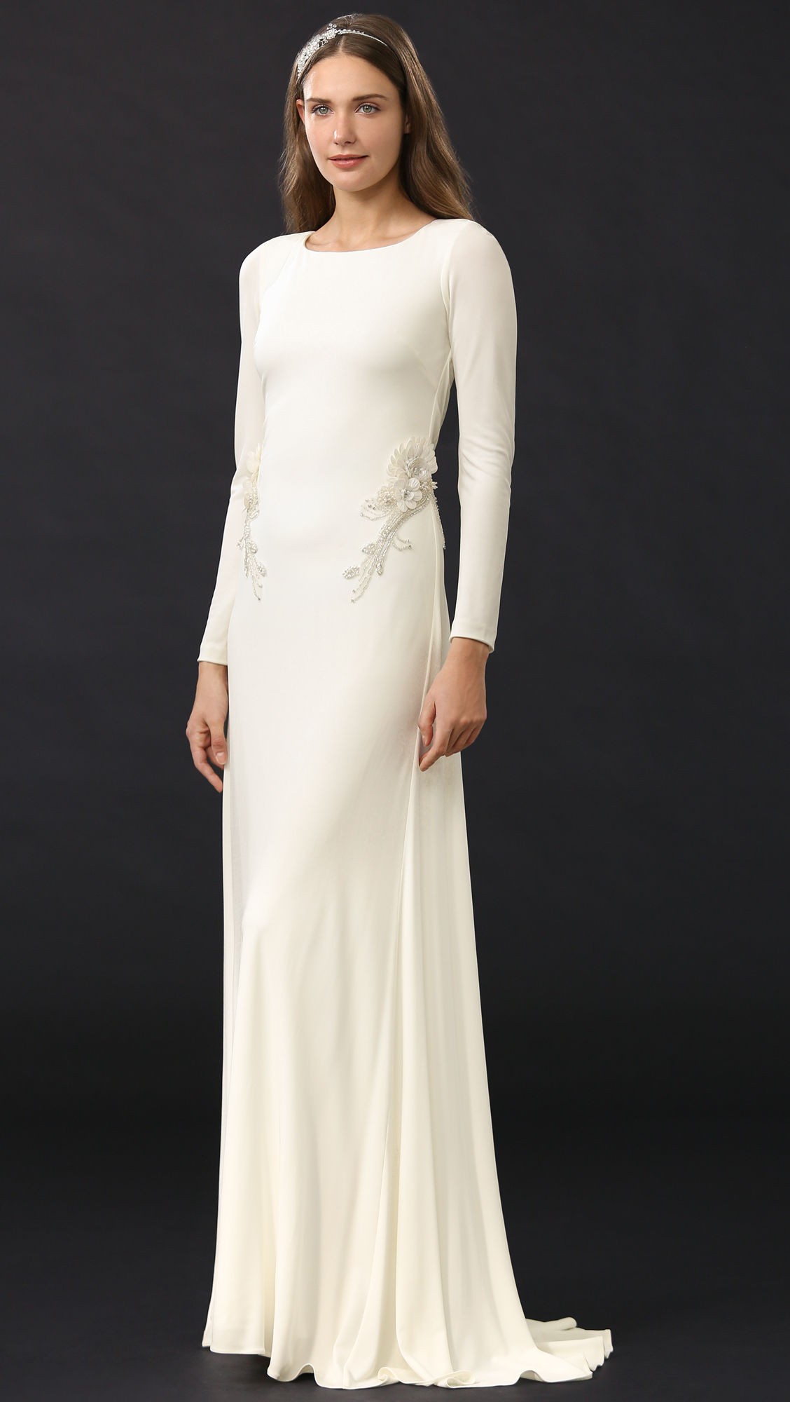 Lyst - Badgley mischka Open Back Jersey Gown in White