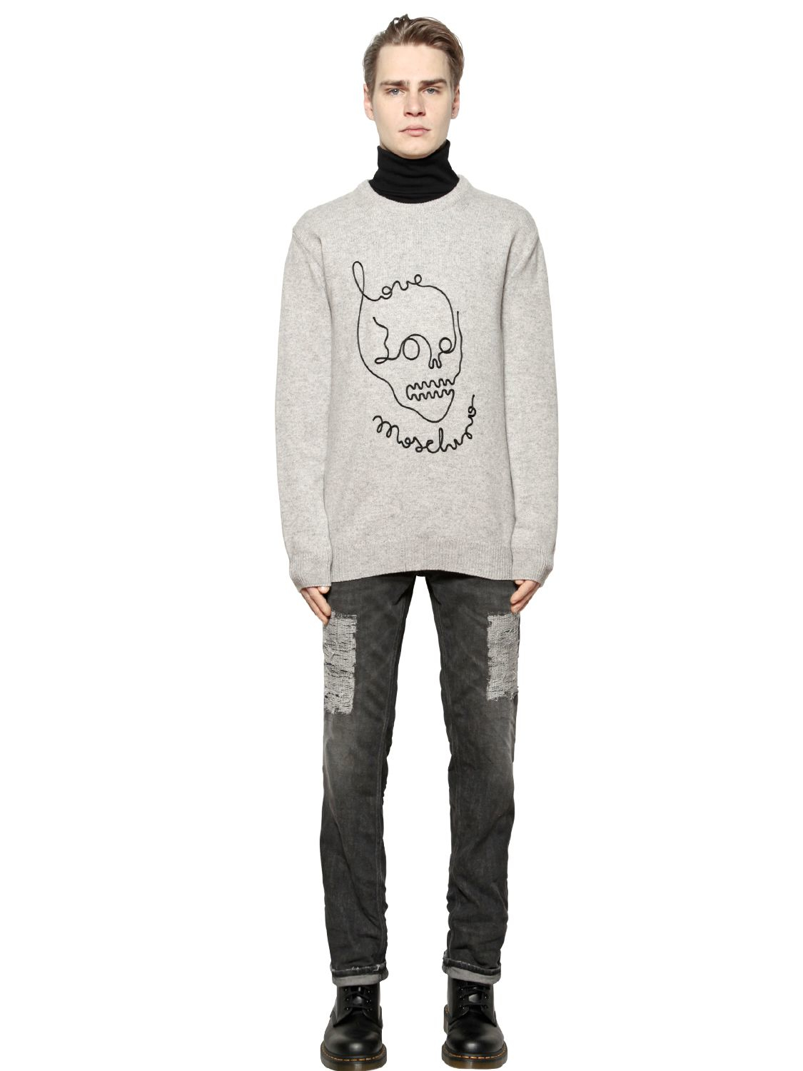 love moschino skull wool cotton sweater in gray for men lyst. Black Bedroom Furniture Sets. Home Design Ideas