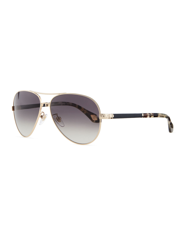 41acad0e90 Lyst - Carolina Herrera Metal Aviator Sunglasses Blackmulti in Black